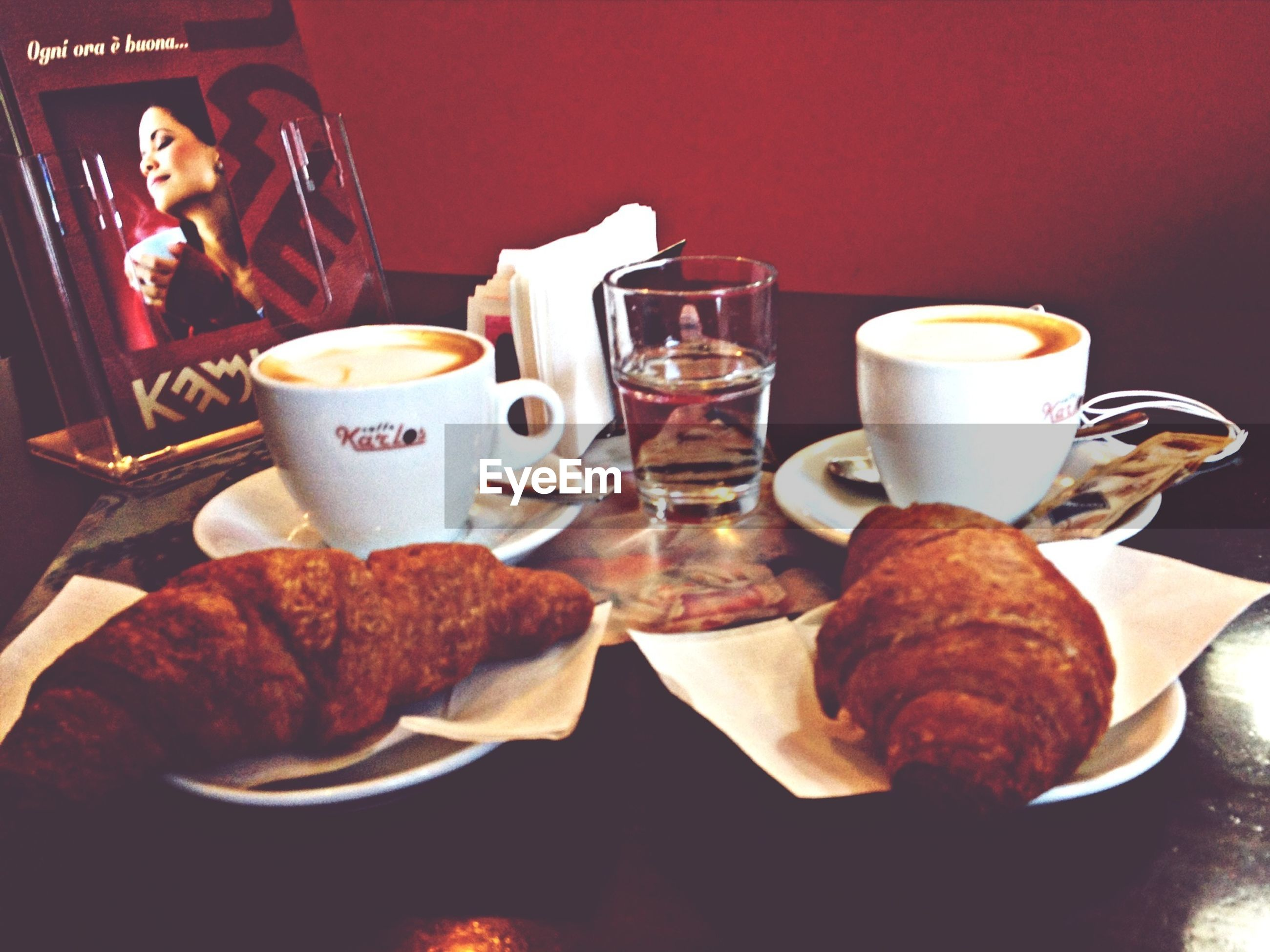food and drink, indoors, drink, freshness, table, refreshment, food, coffee cup, coffee - drink, still life, ready-to-eat, plate, breakfast, saucer, indulgence, sweet food, cup, serving size, coffee, bread