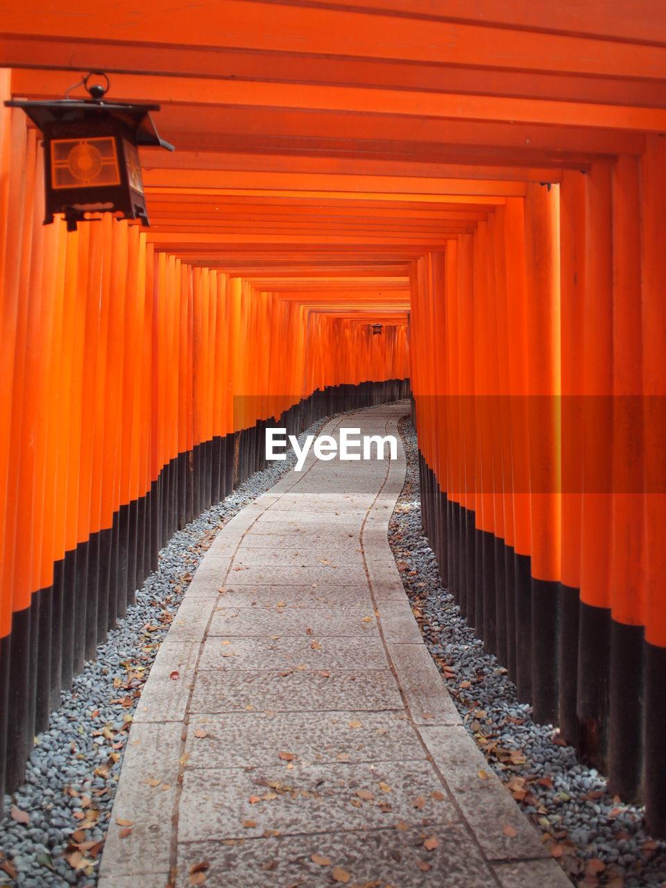 Footpath Amidst Torii Gates At Fushimi Inari Shrine