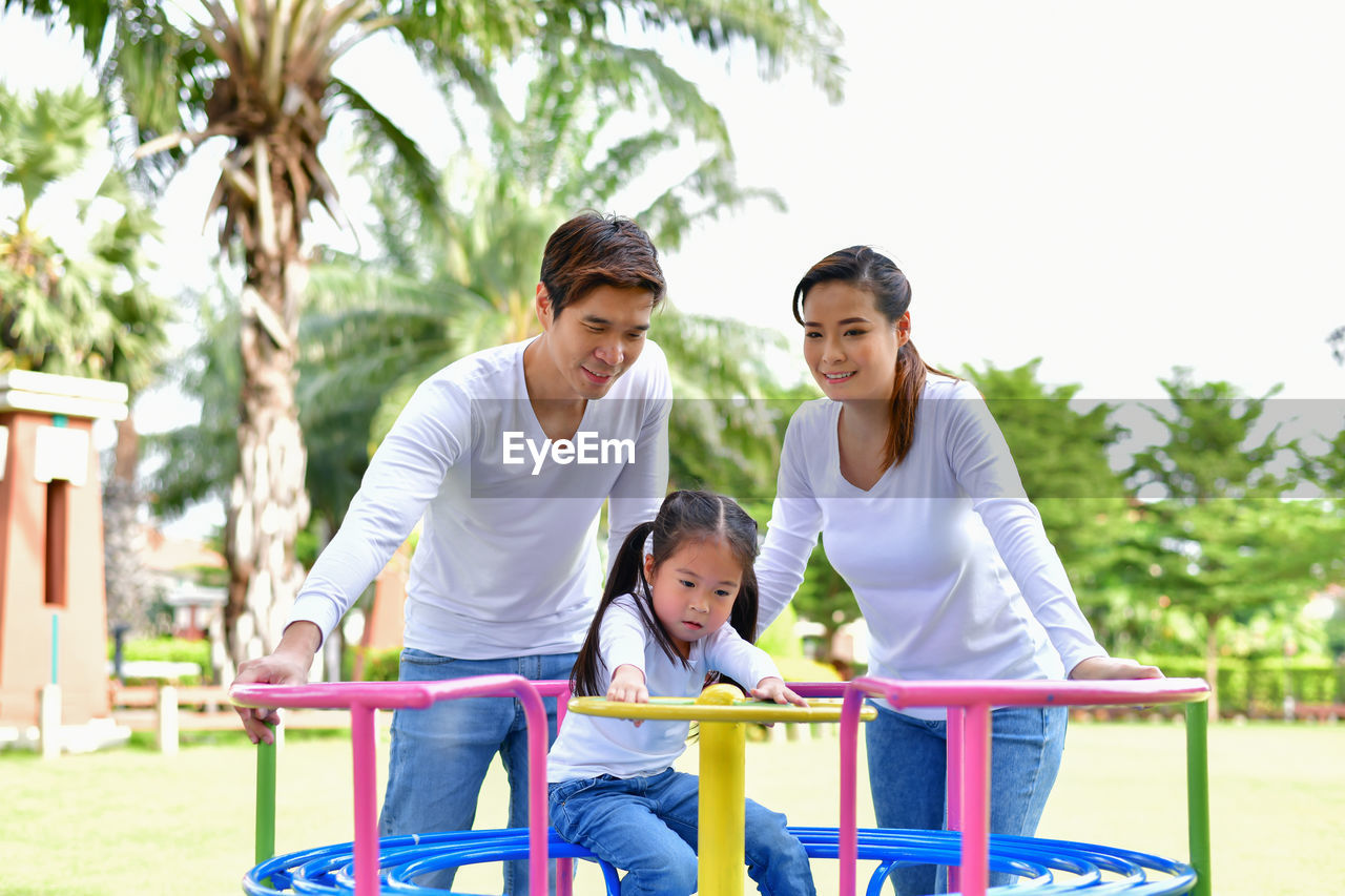 Family enjoying at park