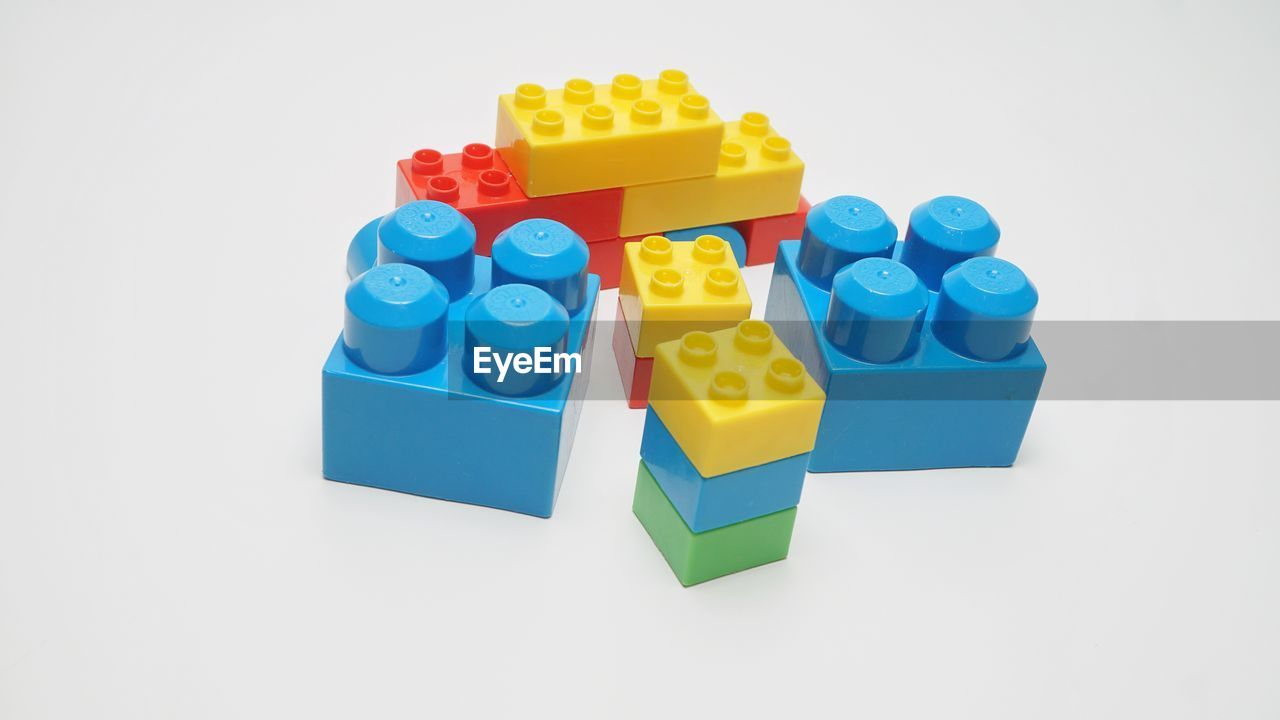 Close-up of toy blocks against white background