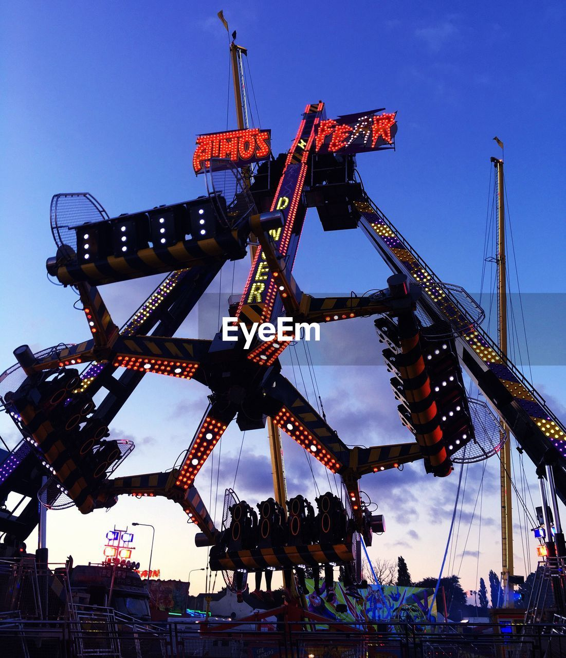 arts culture and entertainment, outdoors, amusement park, sky, day, clear sky, blue, no people