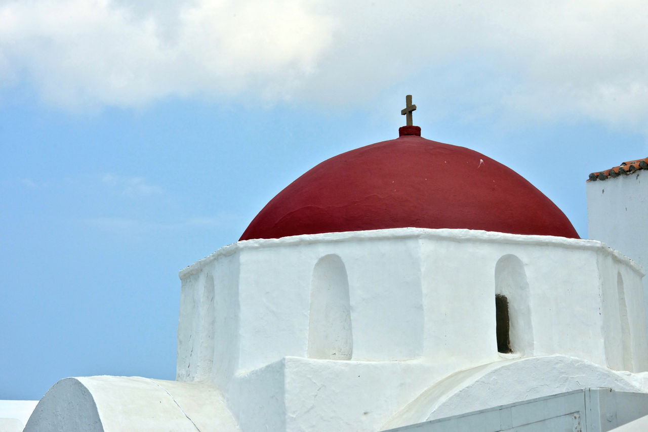sky, built structure, architecture, religion, belief, place of worship, building exterior, spirituality, white color, day, dome, no people, building, nature, cloud - sky, red, cross, outdoors