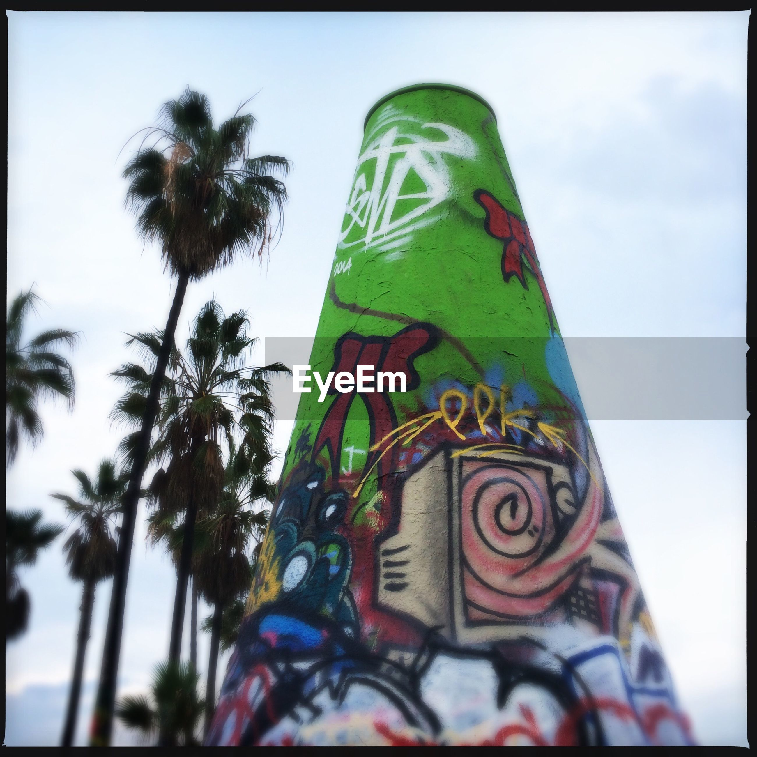 transfer print, low angle view, sky, auto post production filter, palm tree, tree, flag, art, creativity, art and craft, multi colored, text, day, western script, outdoors, green color, identity, no people, human representation, patriotism