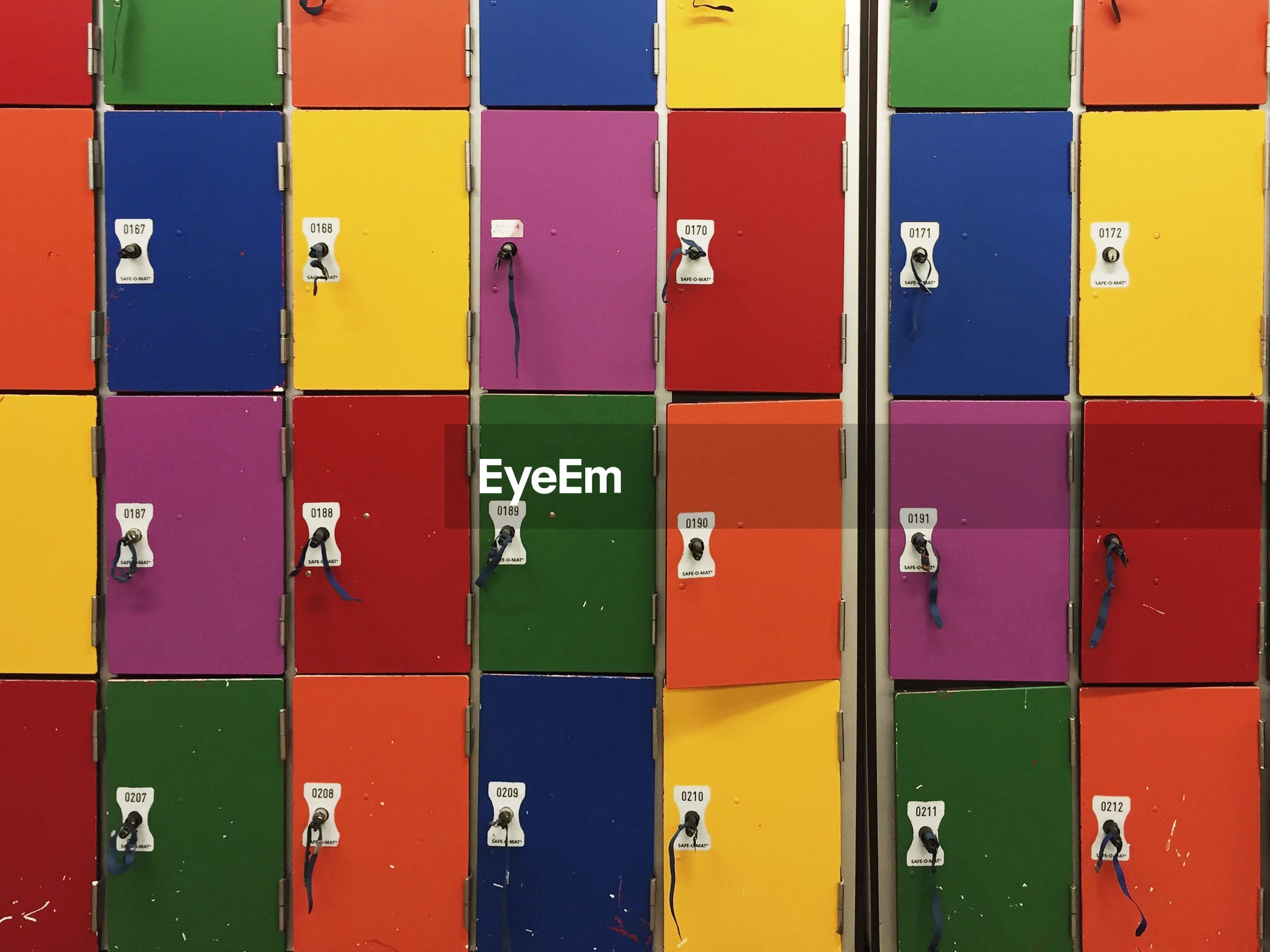 Full frame shot of colorful lockers in storage room