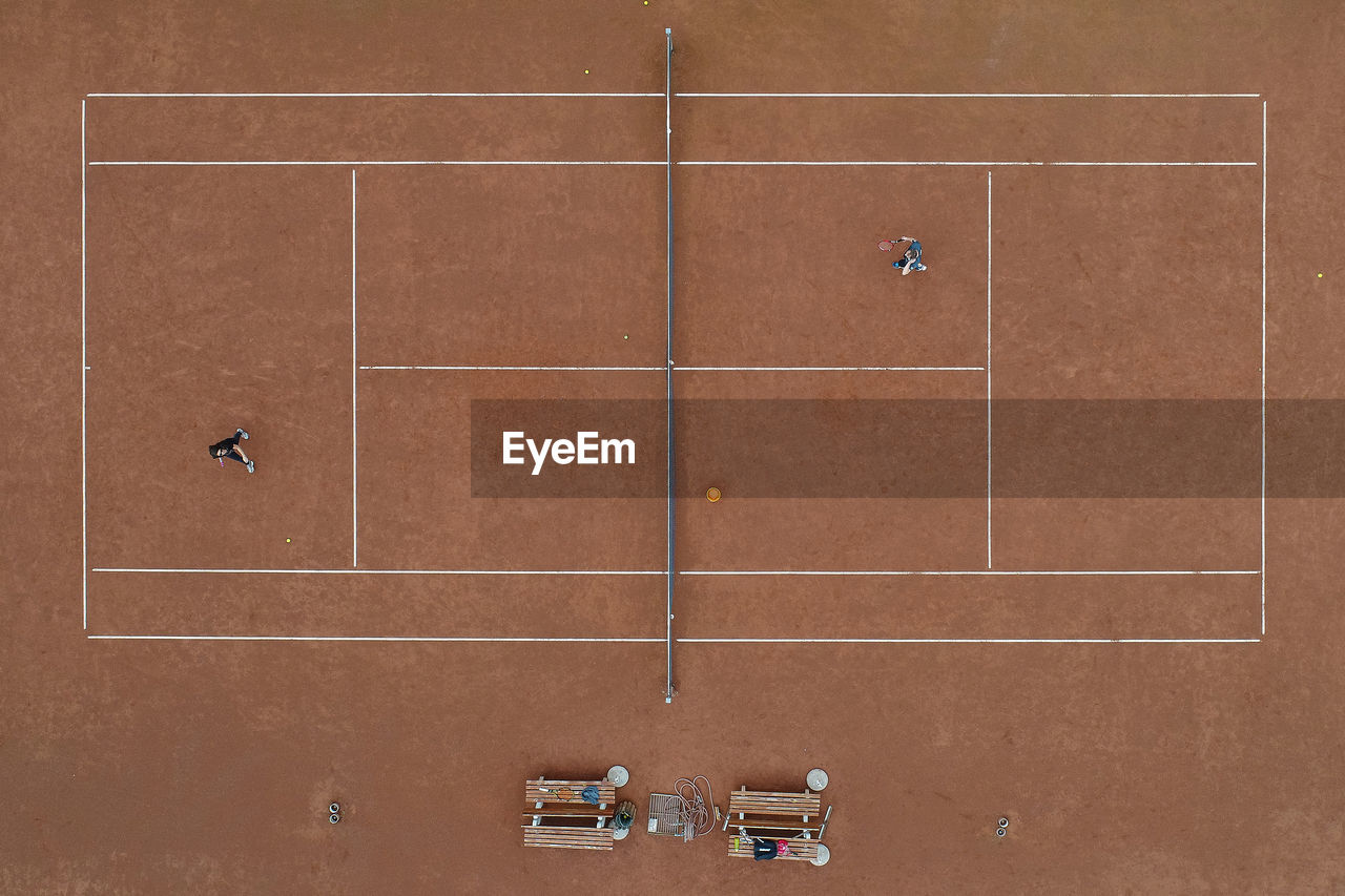 Aerial View Of Athletes Playing Tennis