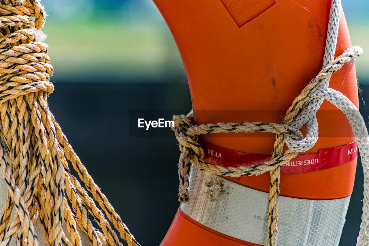 Rope tied on life belt