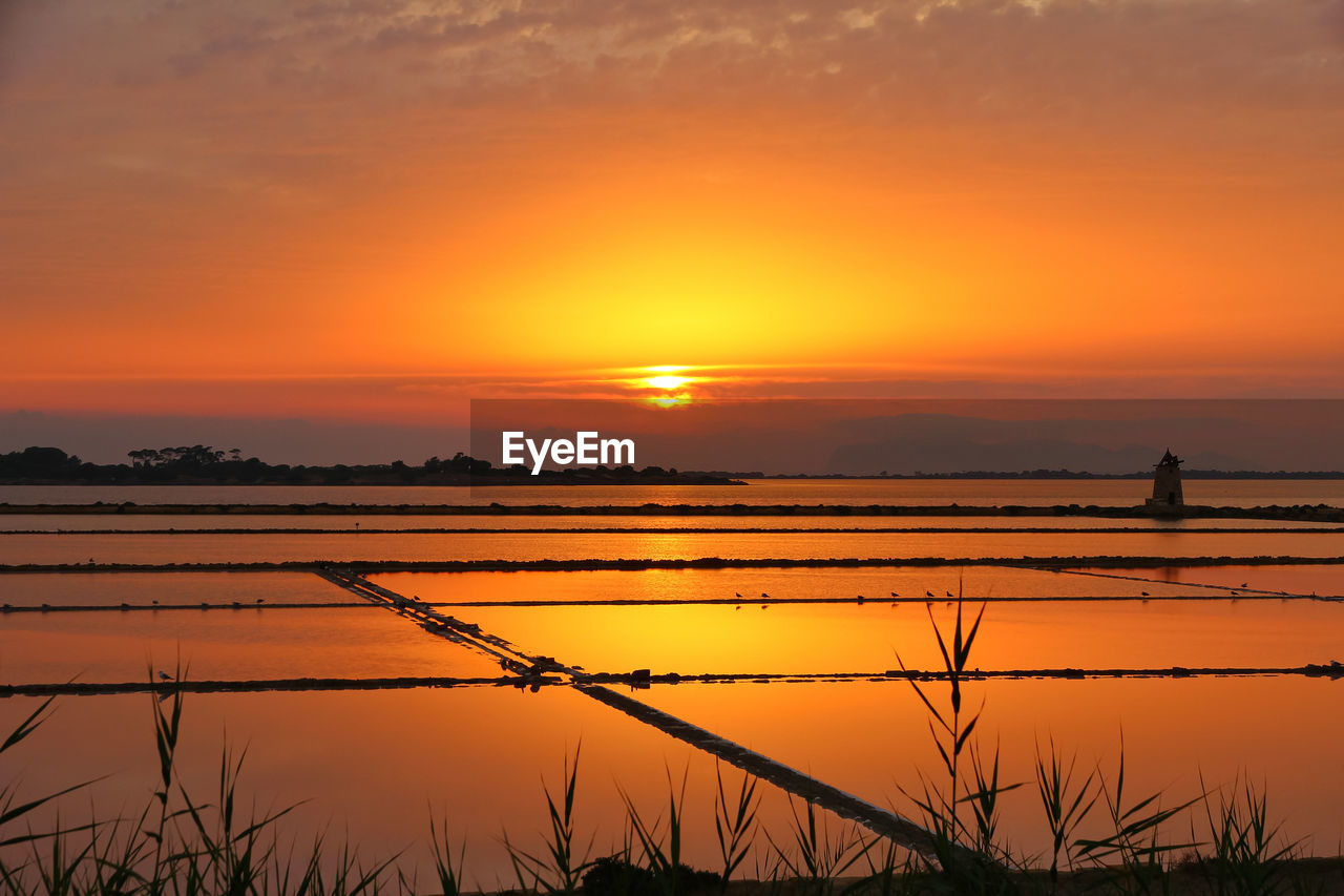 sunset, sky, orange color, scenics - nature, beauty in nature, tranquility, tranquil scene, idyllic, water, reflection, silhouette, rural scene, nature, non-urban scene, sun, landscape, plant, agriculture, environment, outdoors, salt flat