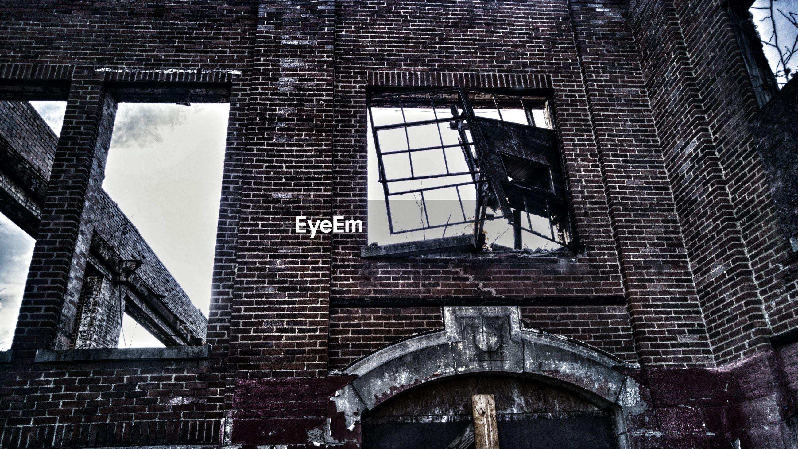Broken window of building
