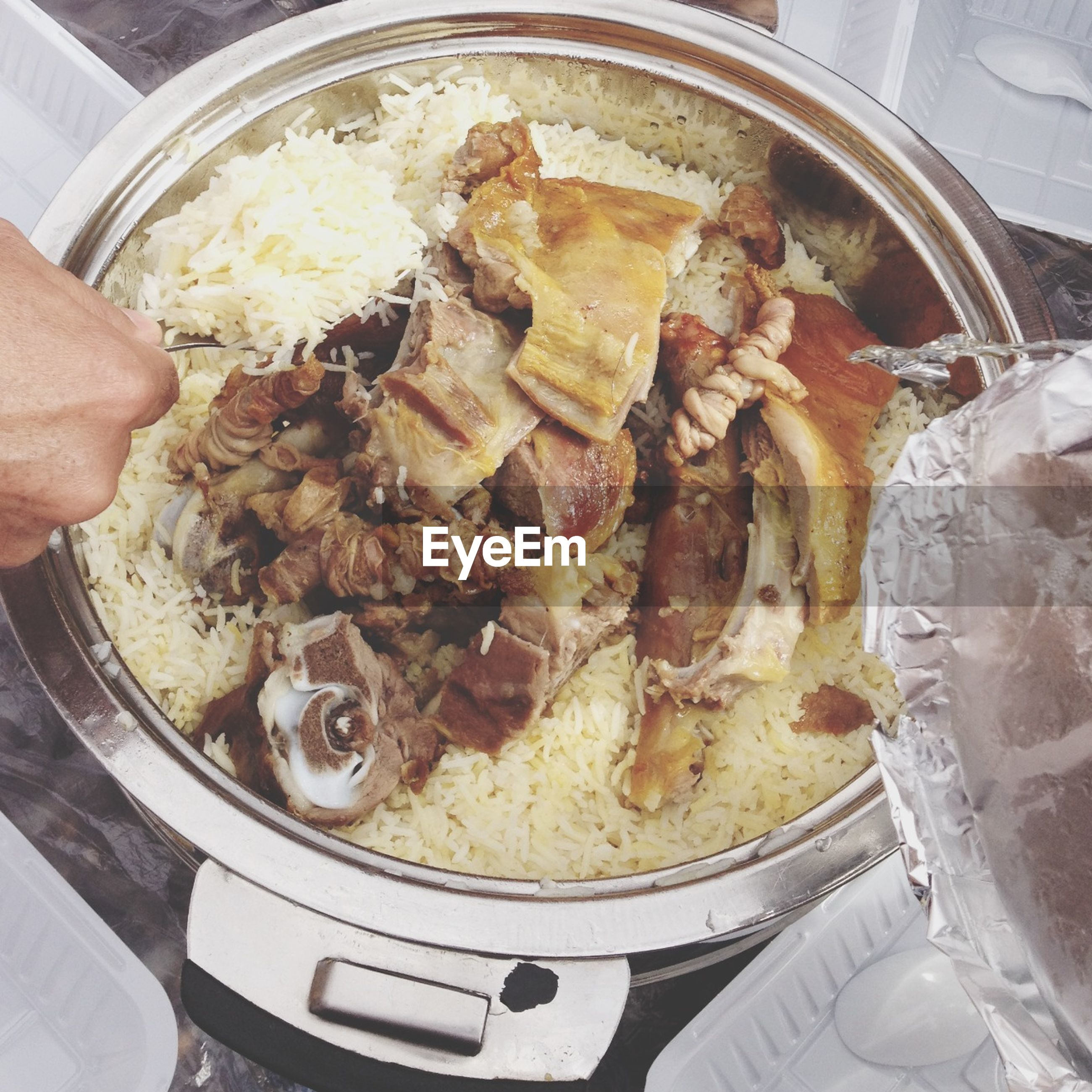 food and drink, indoors, food, freshness, person, high angle view, ready-to-eat, part of, preparation, meat, cropped, preparing food, meal, cooking, healthy eating, close-up, plate