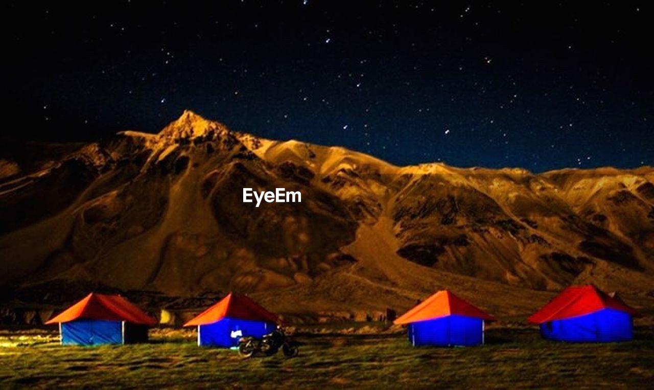 mountain, night, star - space, tent, outdoors, sky, mountain range, scenics, no people, nature, illuminated, moon, multi colored, galaxy