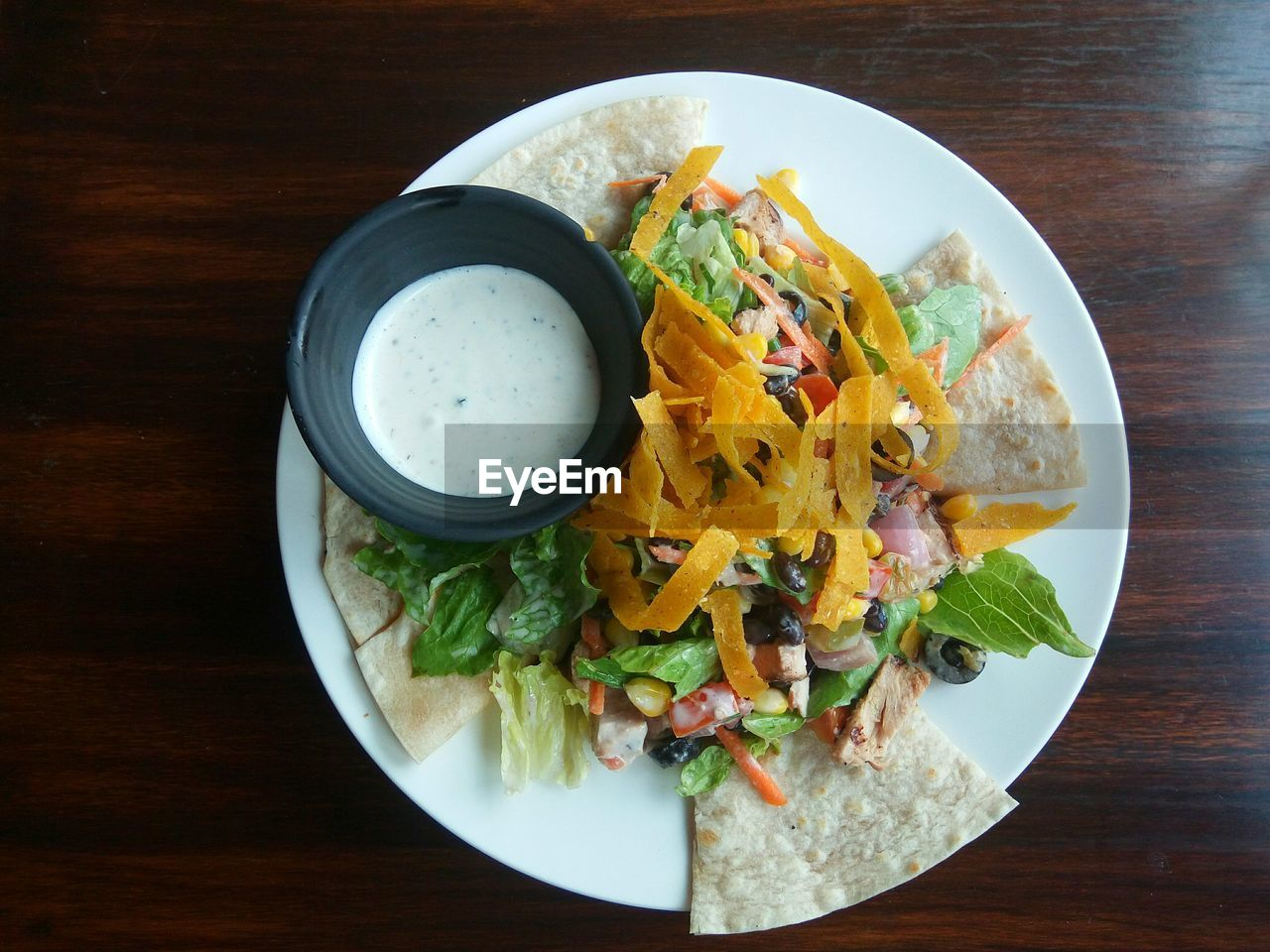 High angle view of tex-mex in plate on table