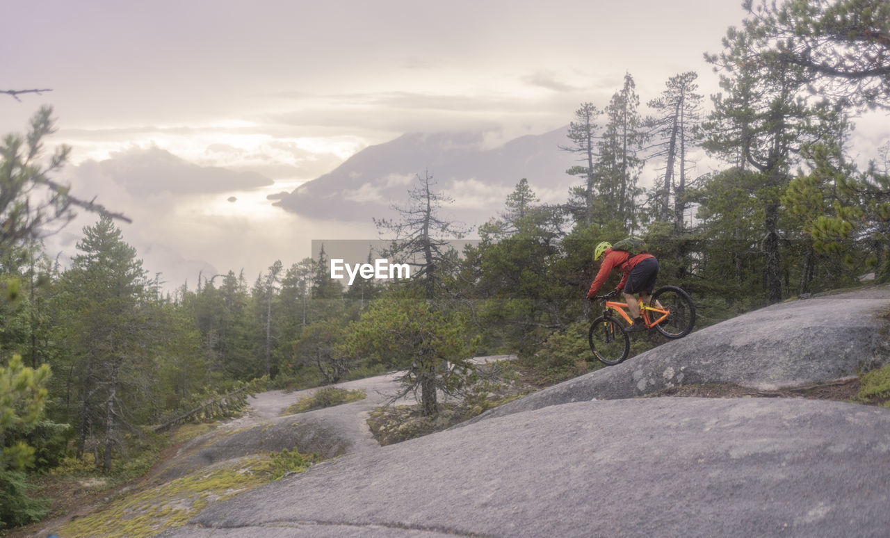 mountain, tree, transportation, real people, adventure, nature, activity, scenics - nature, extreme sports, beauty in nature, one person, lifestyles, leisure activity, sky, helmet, plant, bicycle, cloud - sky, sport, men, riding, mountain range, outdoors