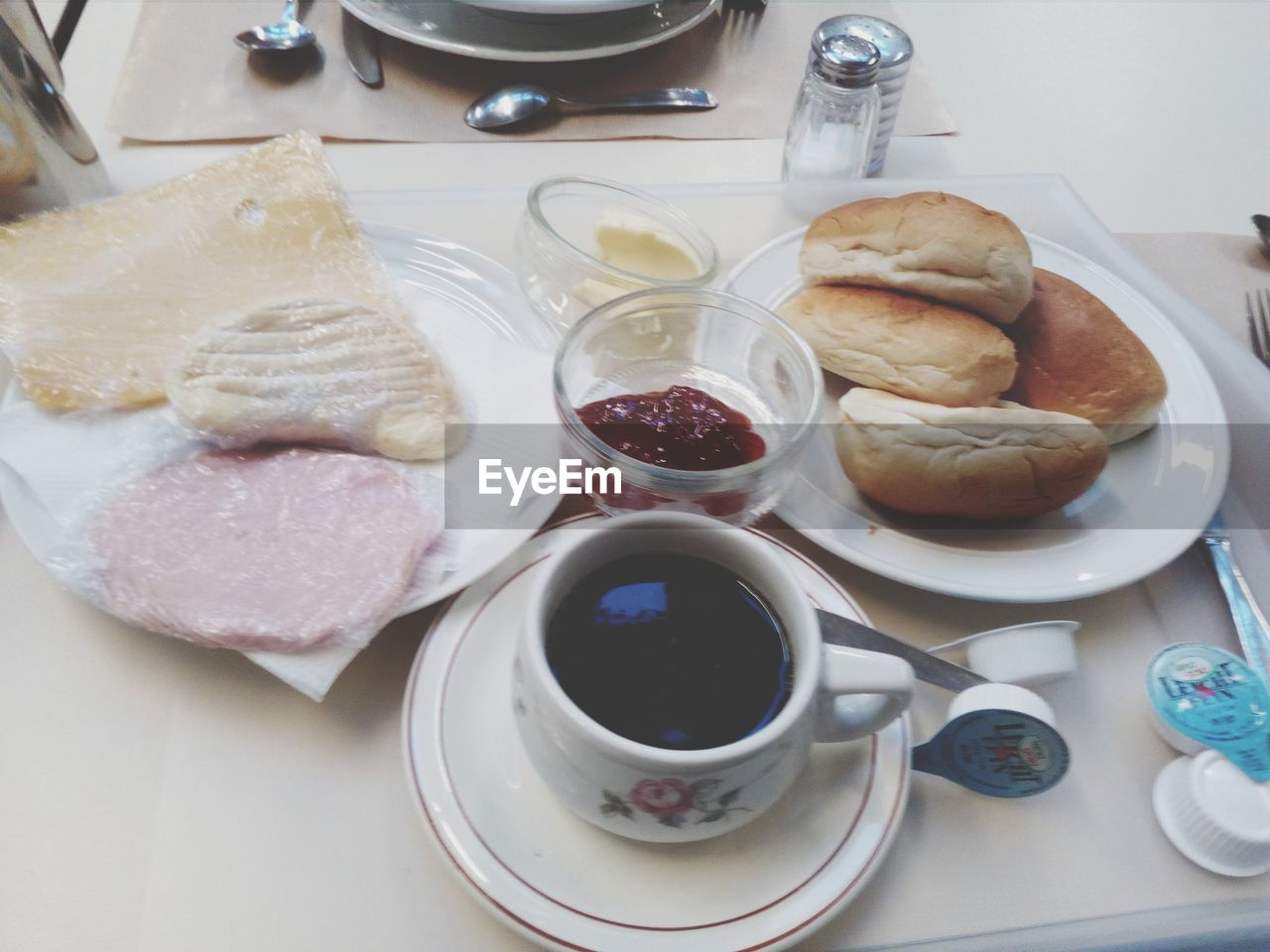 food and drink, food, breakfast, coffee cup, plate, coffee - drink, freshness, table, drink, serving size, indoors, bread, no people, healthy eating, ready-to-eat, close-up, day