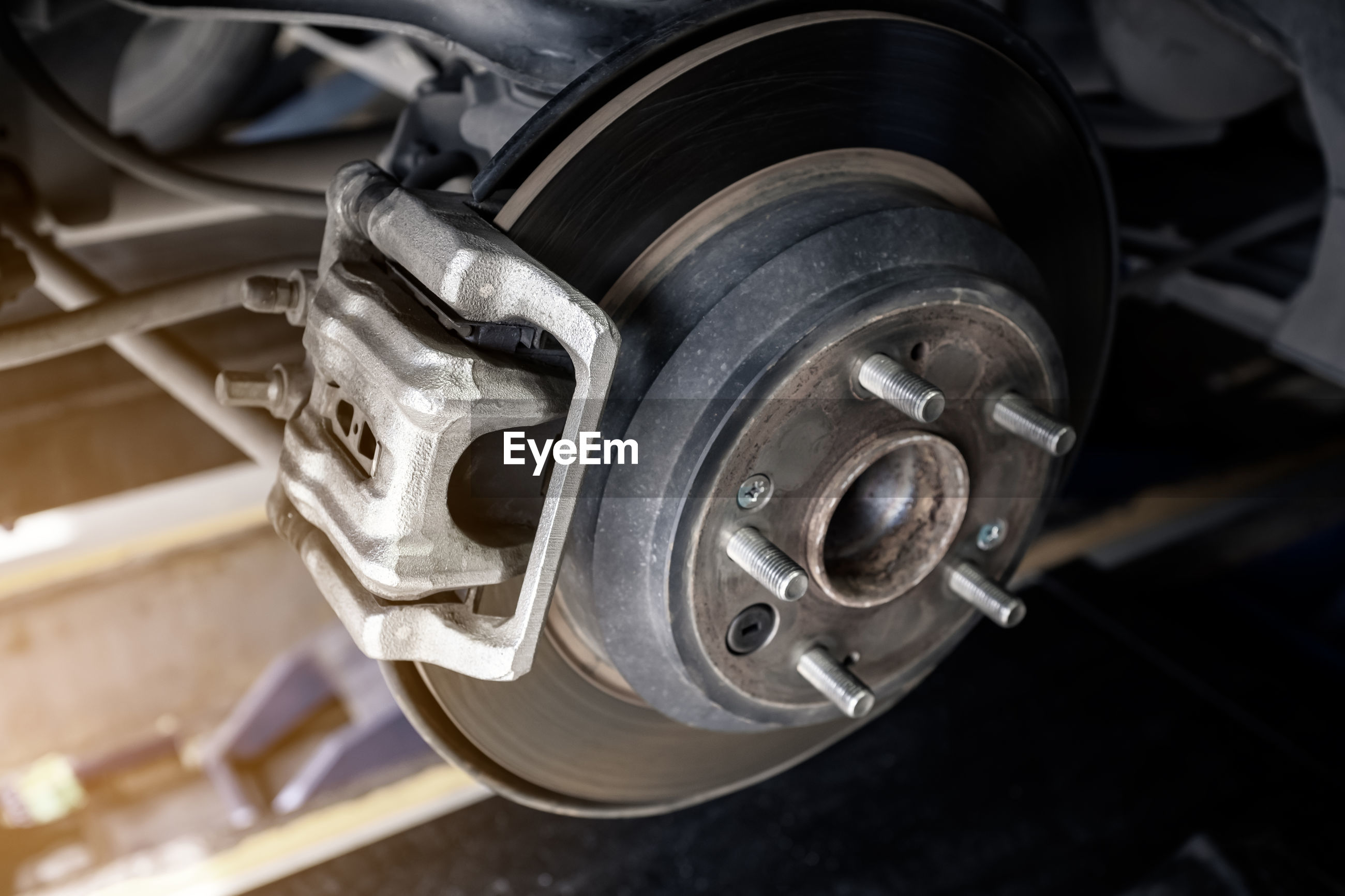 High angle view of car wheel in garage
