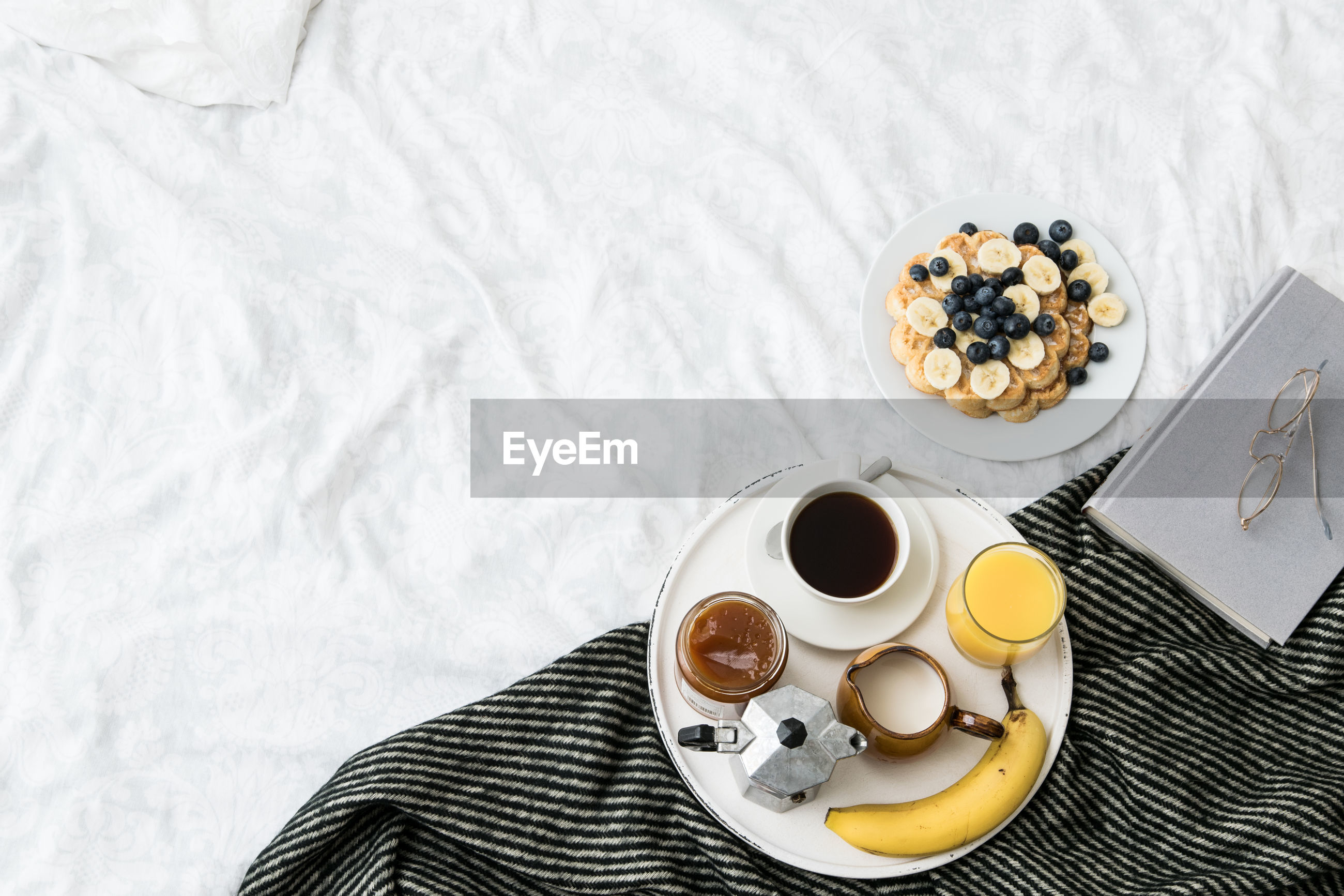 High angle view of breakfast on bed at home
