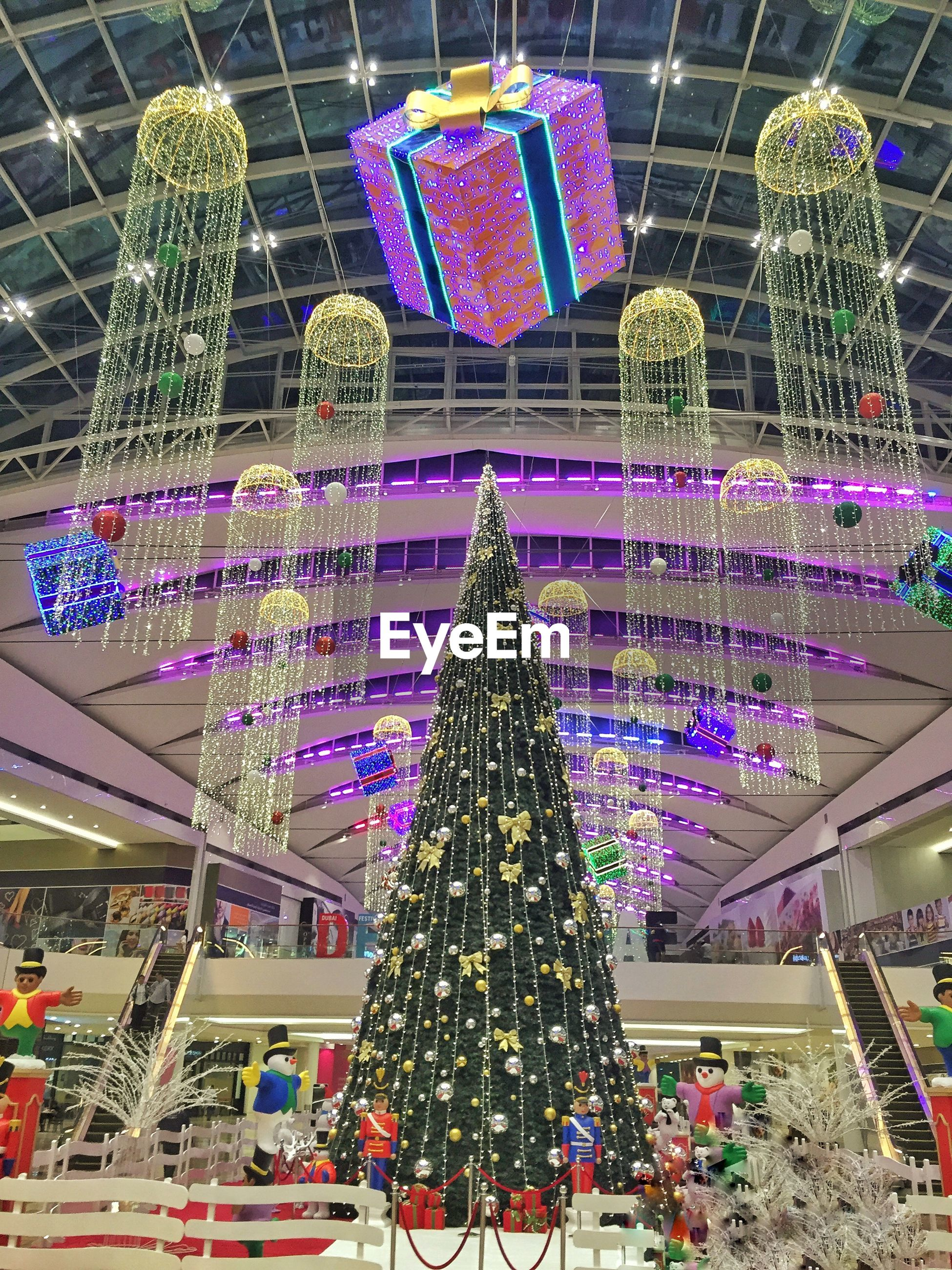 Christmas tree with decorations in shopping mall