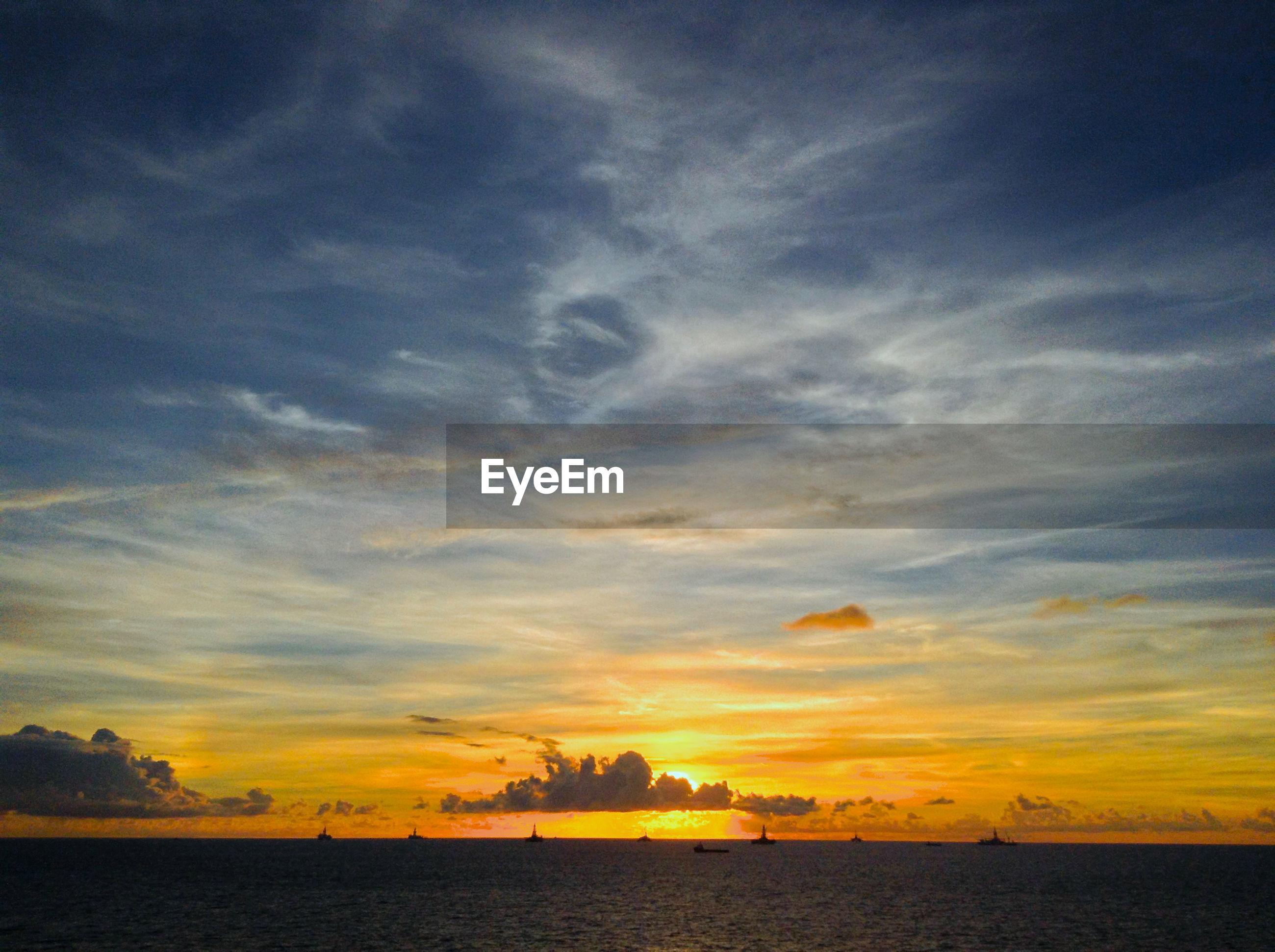 Sunrise over drilling offshore area in brazil