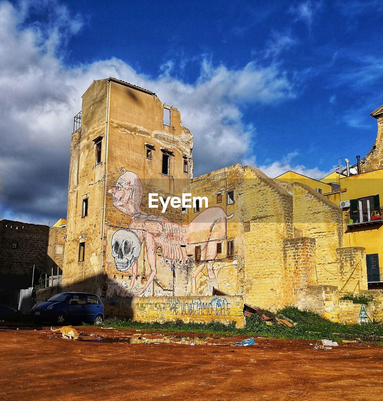 built structure, architecture, building exterior, sky, cloud - sky, building, history, the past, nature, old, day, no people, outdoors, low angle view, city, sunlight, travel destinations, blue, old ruin, ancient, ruined