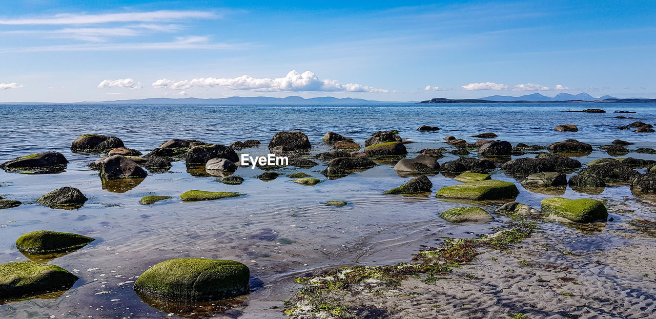 water, sky, sea, rock, rock - object, solid, beauty in nature, scenics - nature, land, horizon over water, tranquil scene, tranquility, cloud - sky, horizon, nature, day, no people, beach, idyllic, outdoors, pebble, shallow, rocky coastline