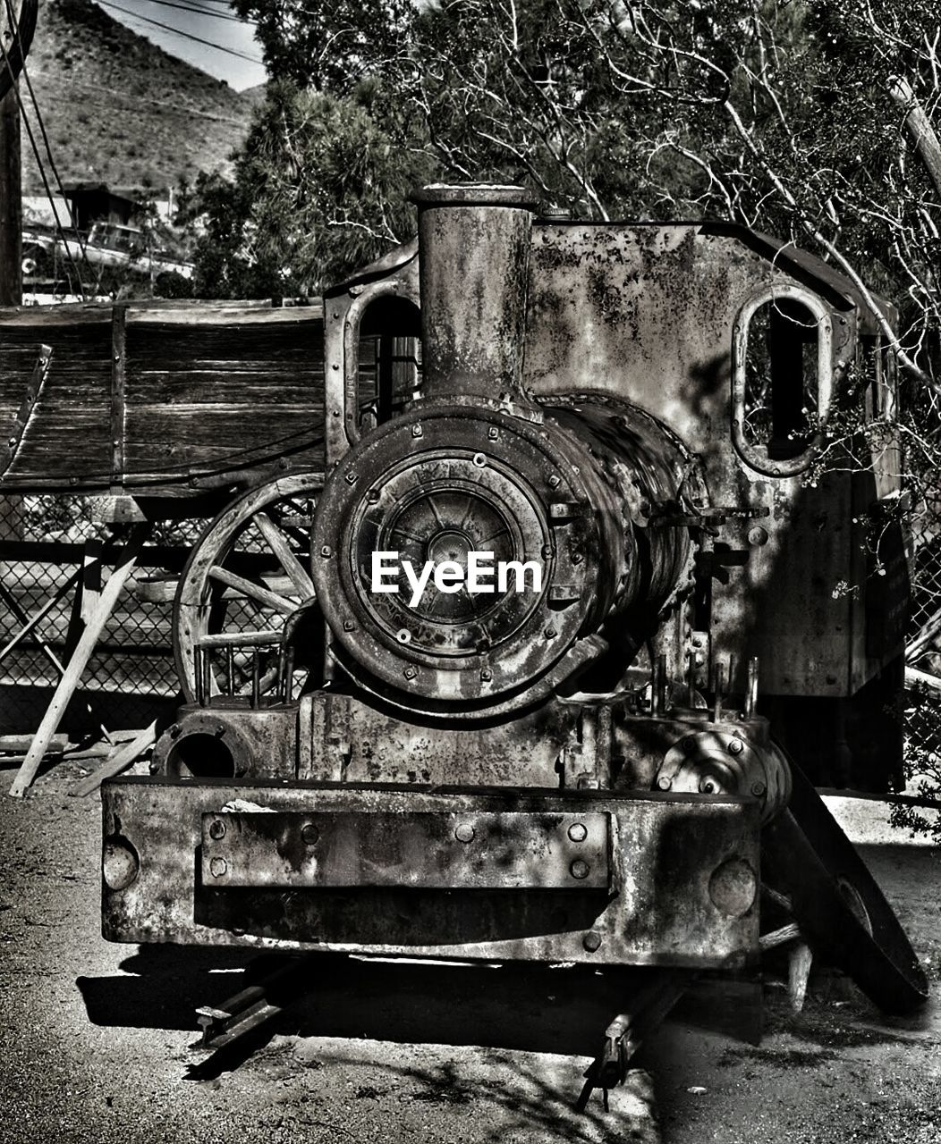 abandoned, metal, damaged, day, machinery, no people, outdoors, close-up, old-fashioned, built structure, architecture, tree