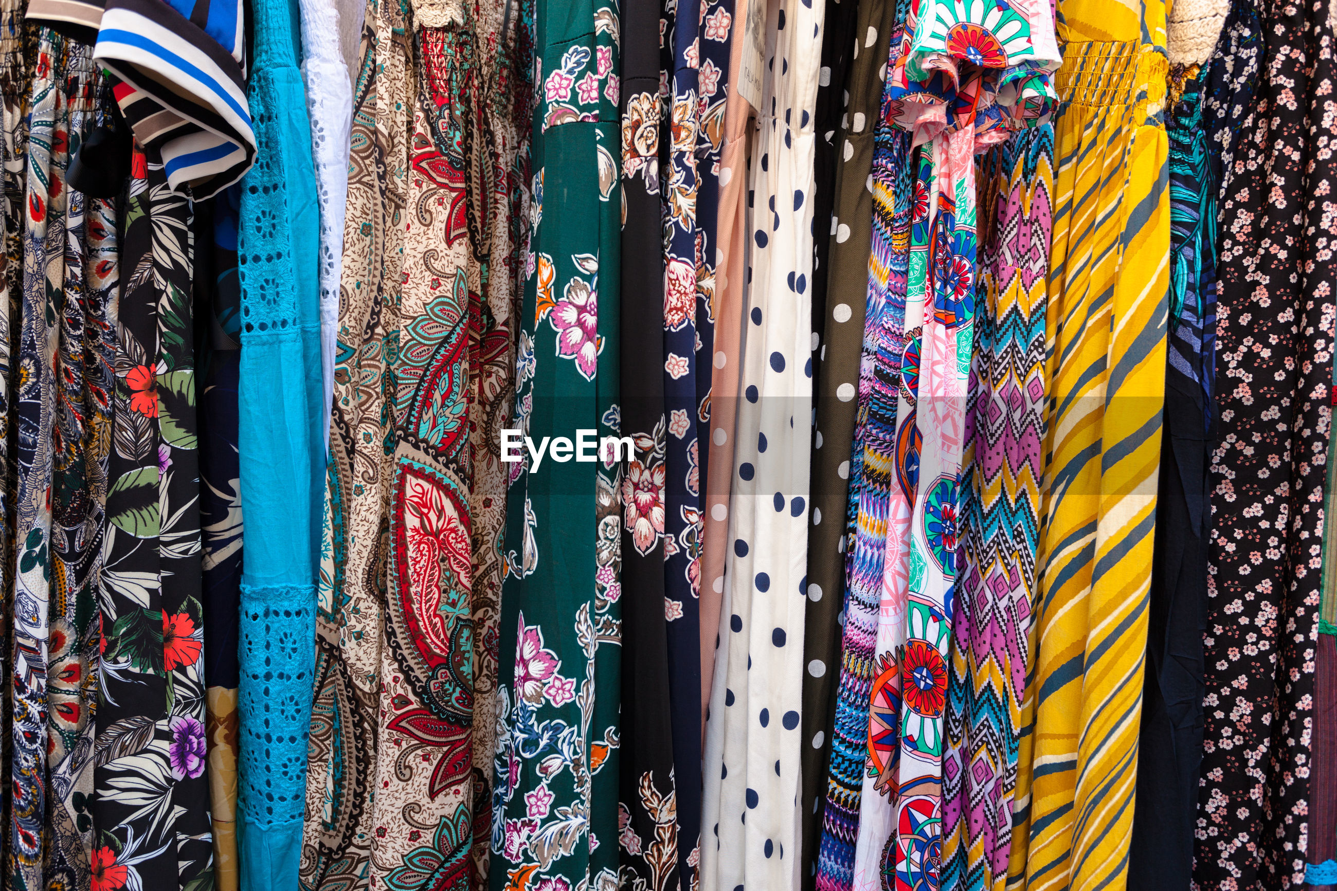 Close-up of multi colored clothing in store