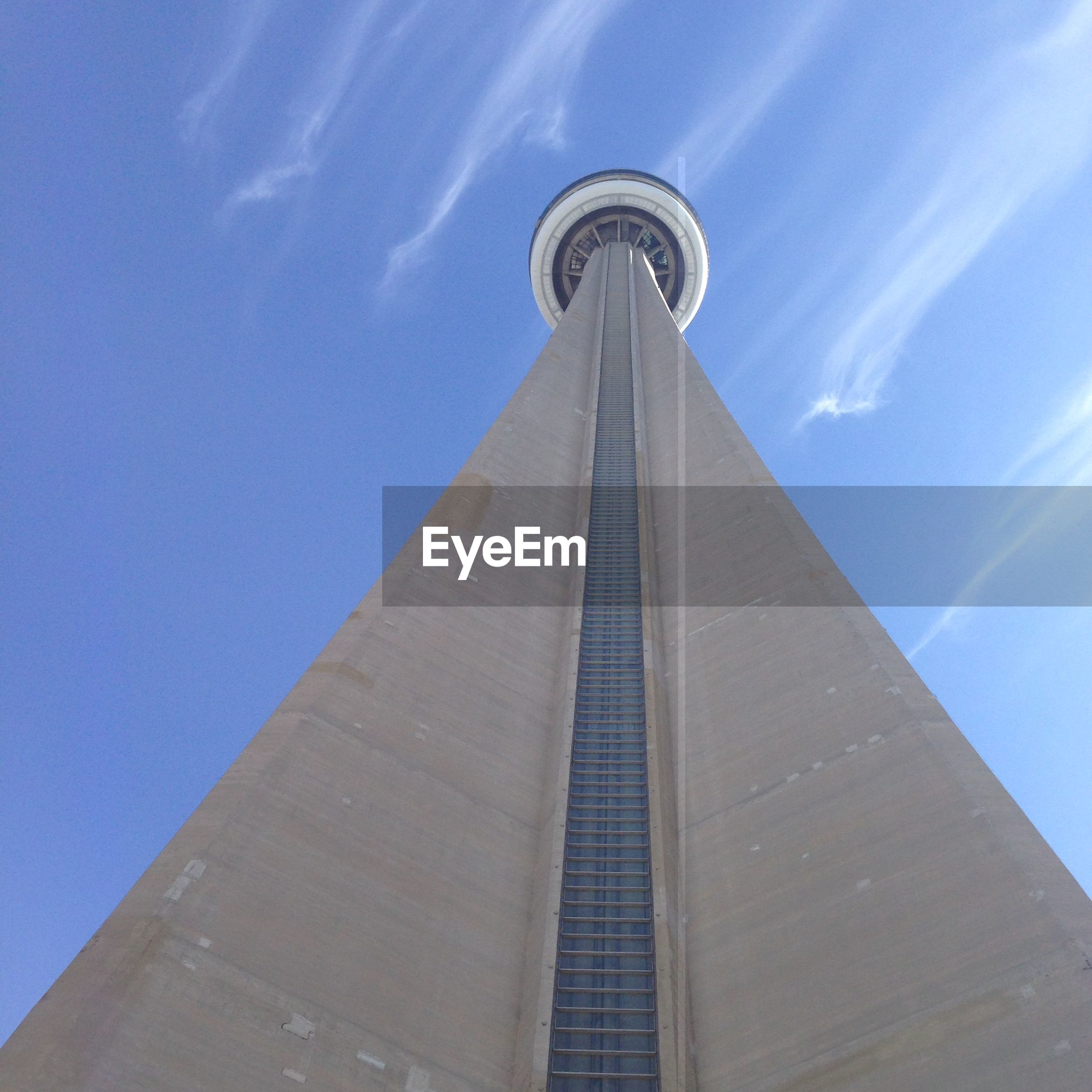 Exterior of cn tower against sky