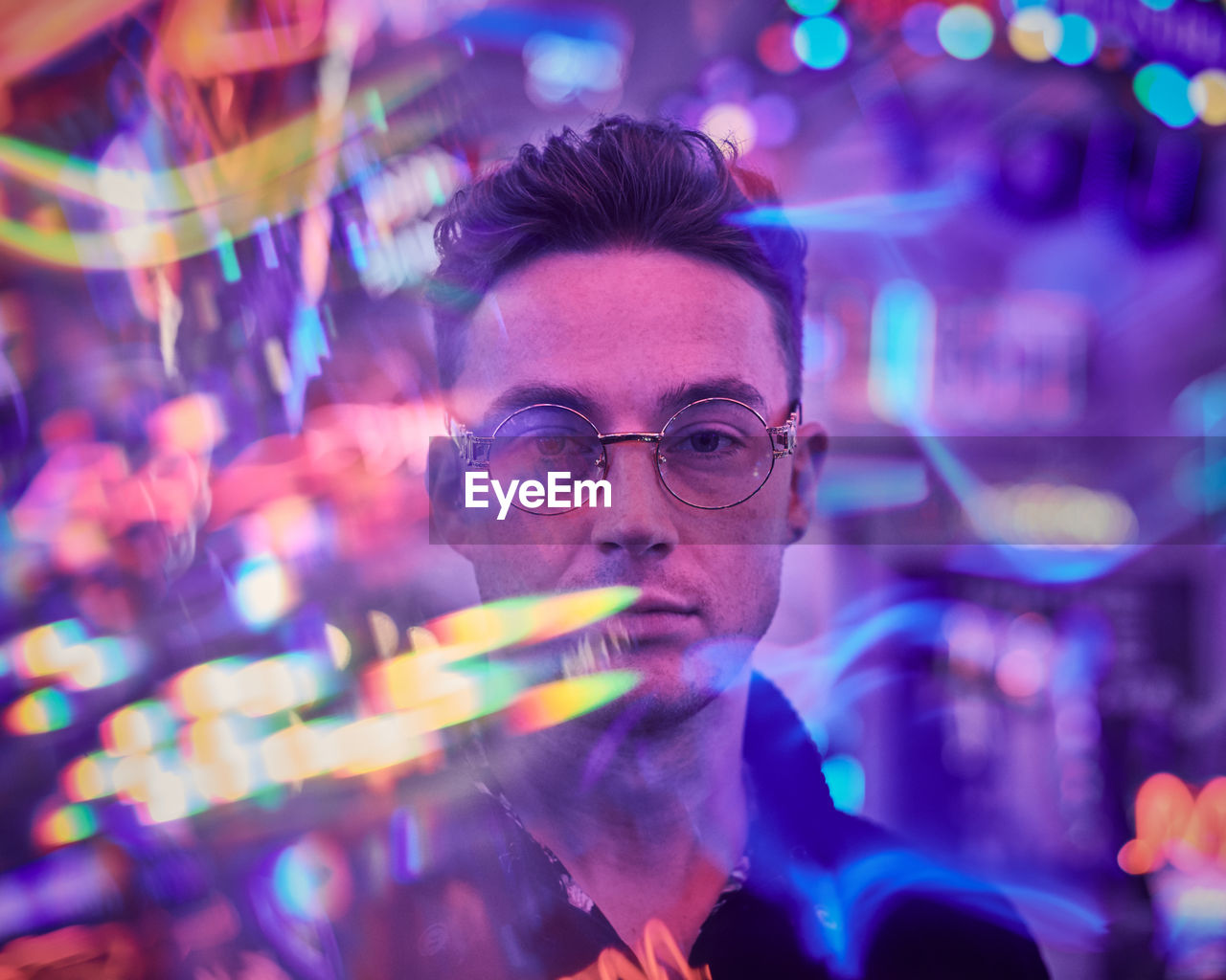 eyeglasses, headshot, portrait, glasses, one person, illuminated, men, adult, real people, front view, leisure activity, indoors, night, young men, mature adult, males, looking, looking at camera, mature men, nightlife