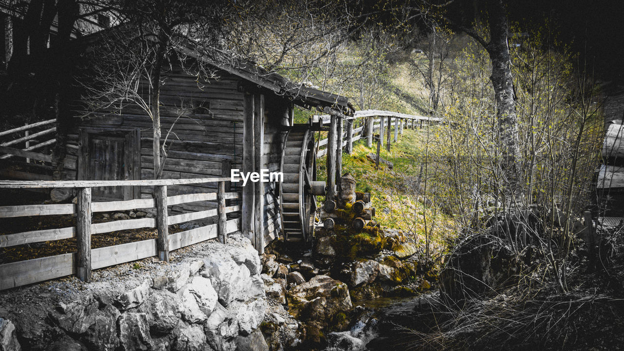built structure, architecture, tree, outdoors, no people, day, nature, forest, building exterior, watermill, water