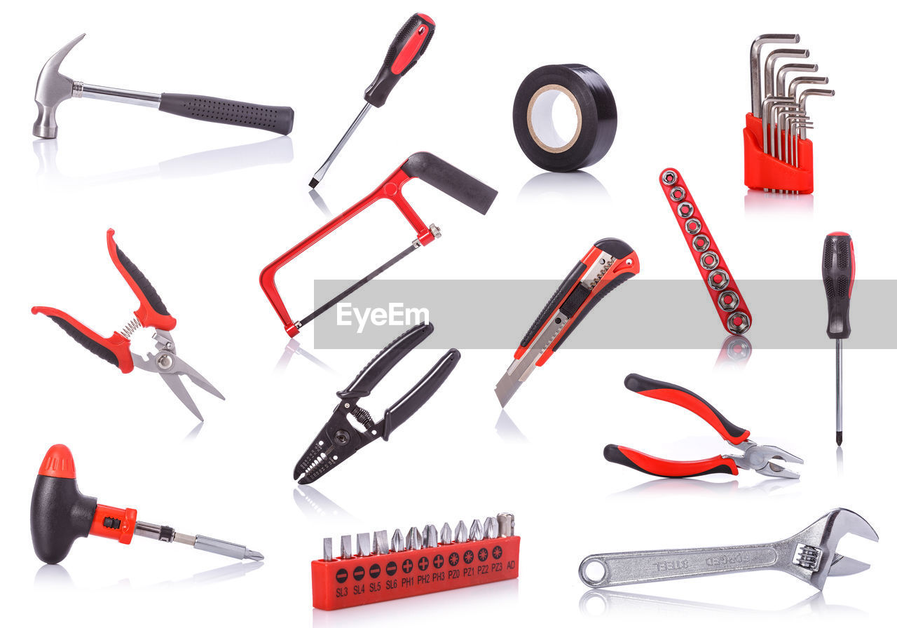 Various work tools on white background