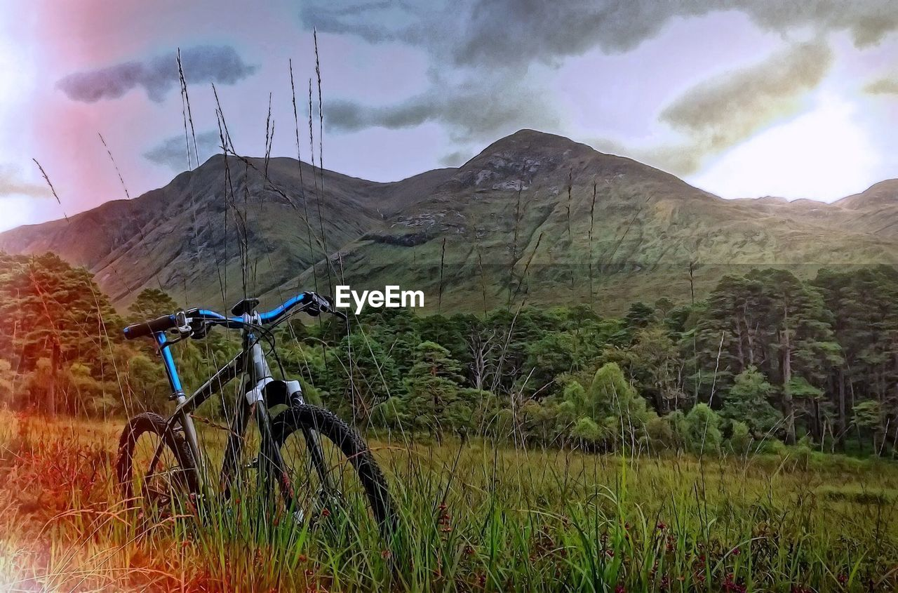 Bicycle With Mountain In Background