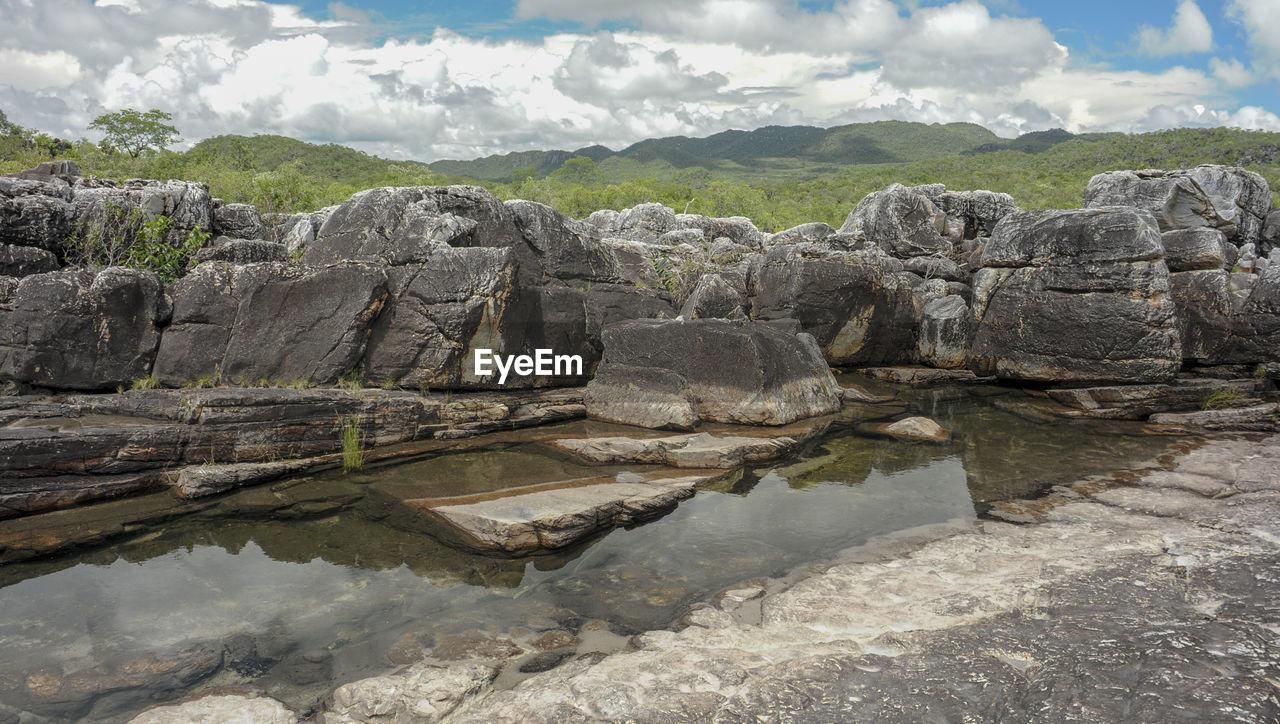 ROCKS BY LAKE AGAINST SKY