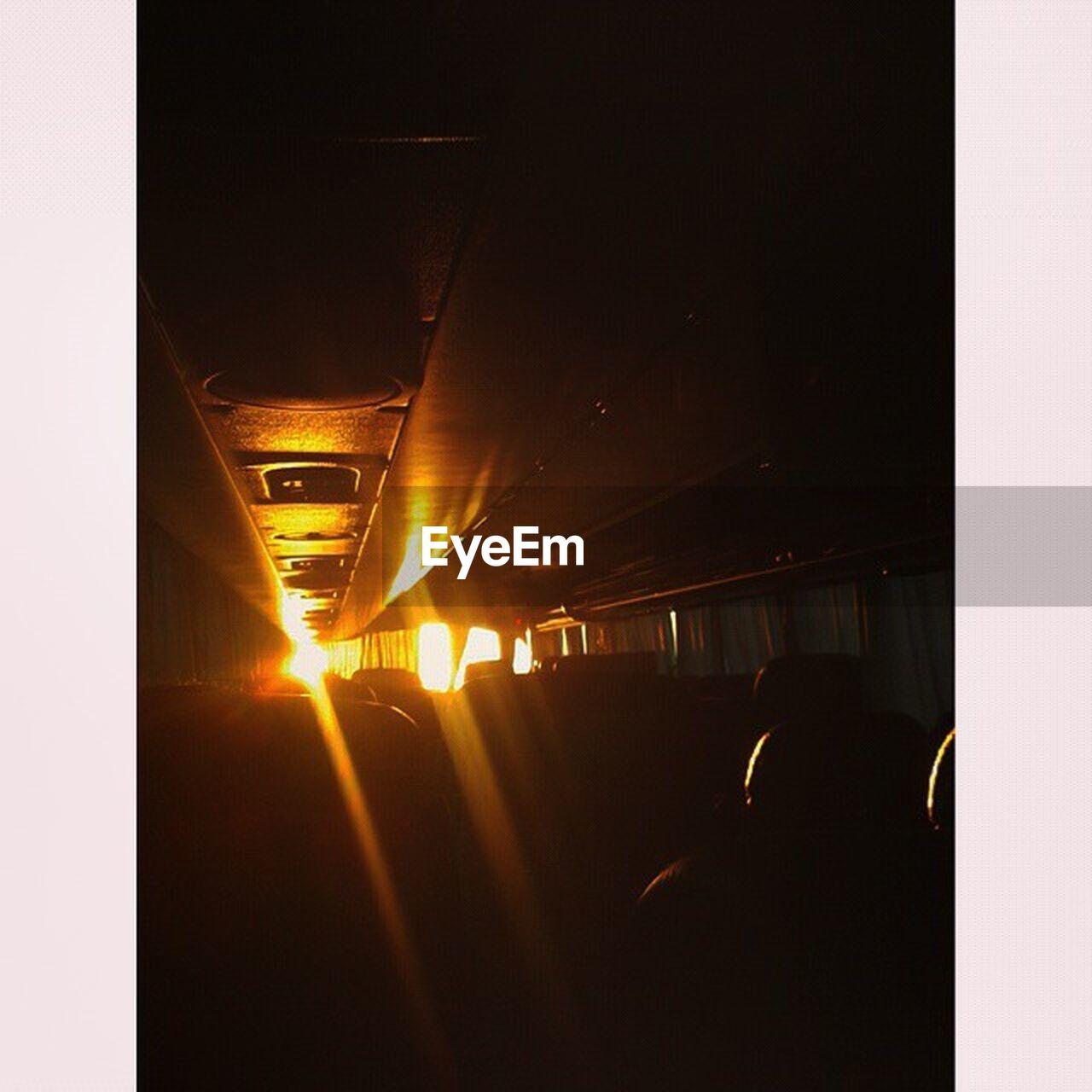 transportation, mode of transport, night, illuminated, land vehicle, train - vehicle, public transportation, no people, indoors, architecture, city