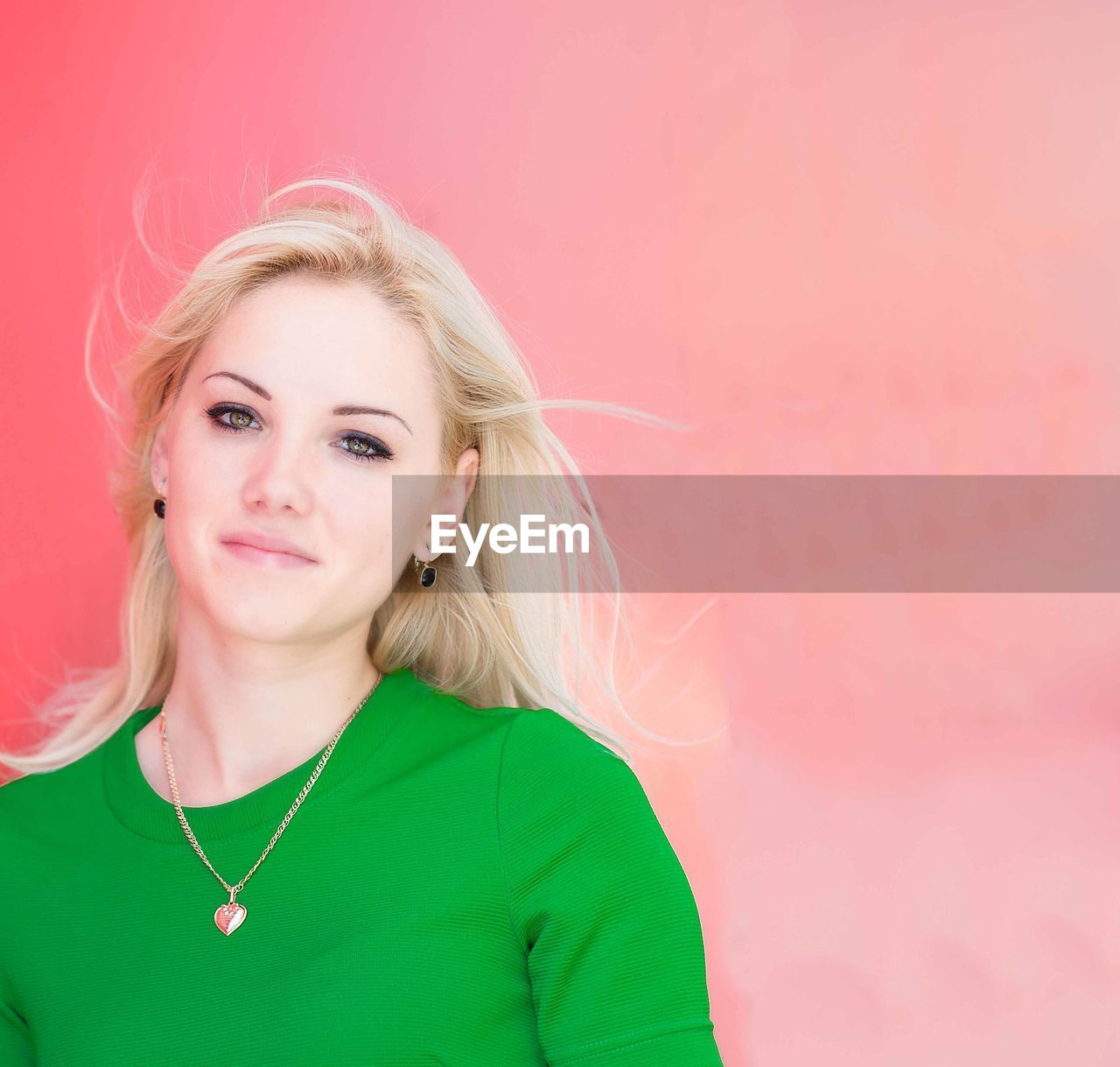 portrait, blond hair, hair, women, one person, front view, looking at camera, adult, pink color, headshot, young adult, young women, colored background, beauty, copy space, beautiful woman, studio shot, indoors, hairstyle