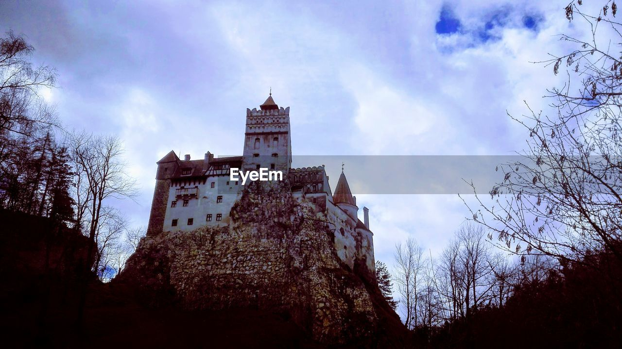 sky, architecture, built structure, building exterior, cloud - sky, low angle view, building, tree, the past, history, plant, nature, no people, castle, day, bare tree, tower, outdoors, branch, travel destinations
