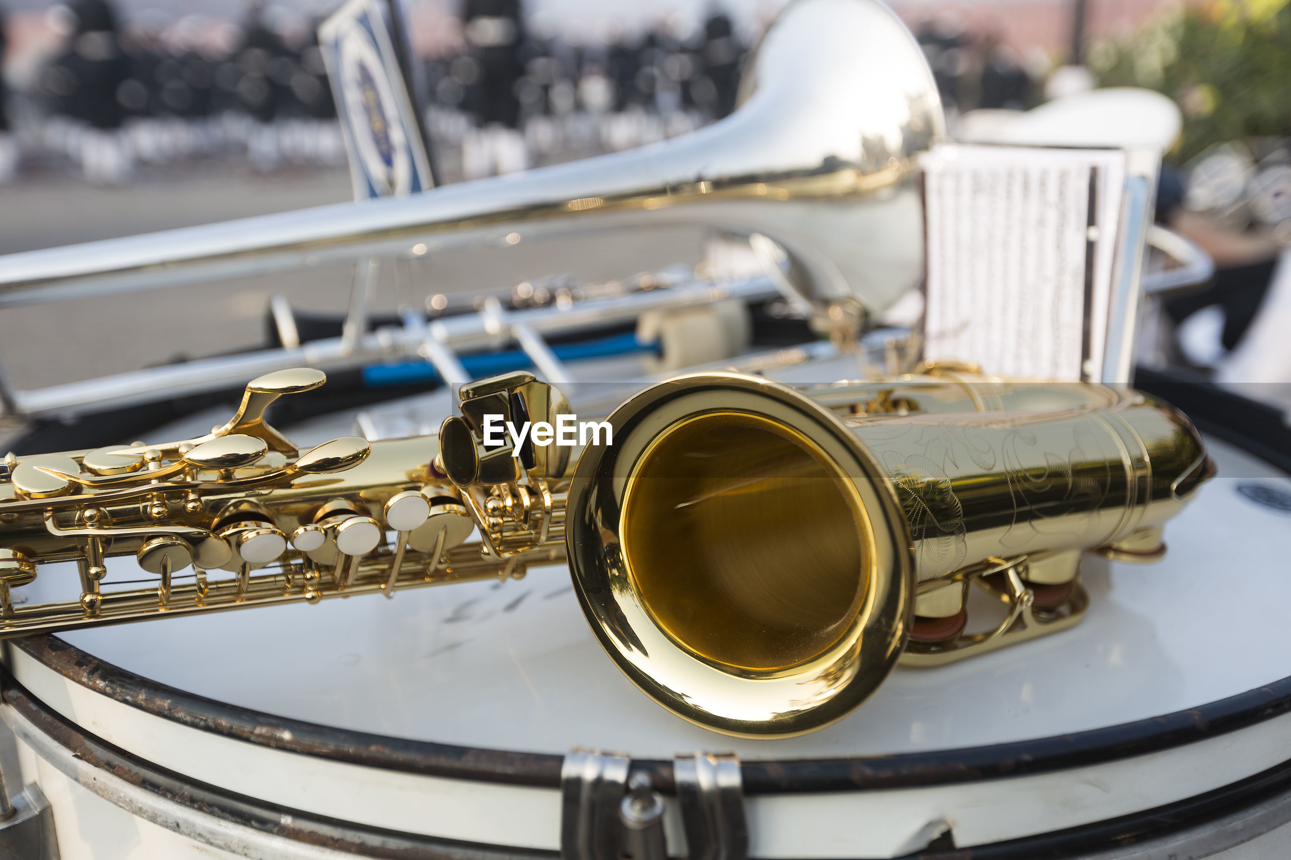 Close-up of saxophone on drum