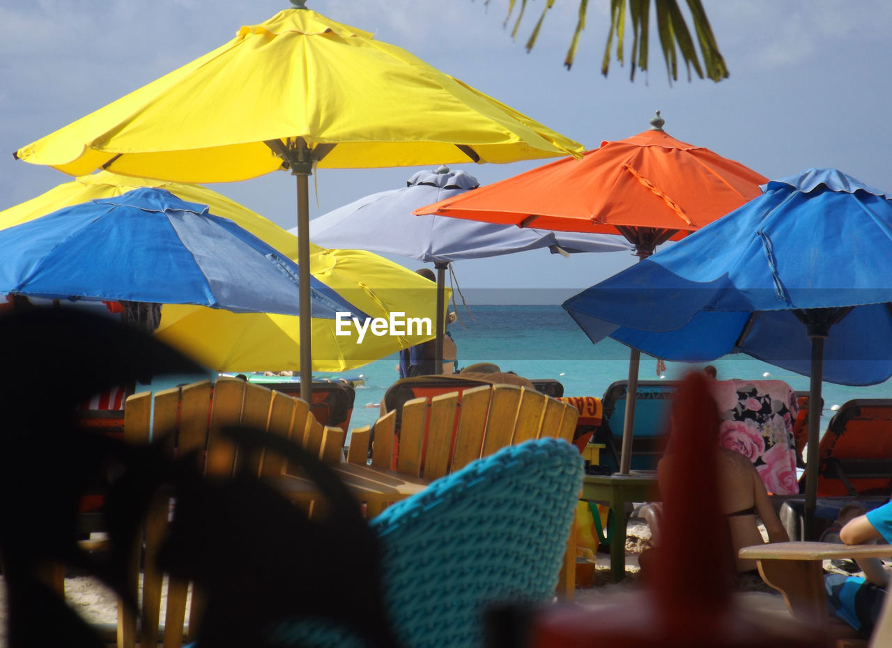 umbrella, protection, parasol, security, chair, sky, sunshade, water, nature, beach, shade, relaxation, beach umbrella, outdoors, land, cafe, clear sky, seat