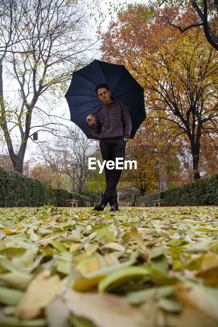 Portrait of man standing with umbrella on leaves covered park during autumn