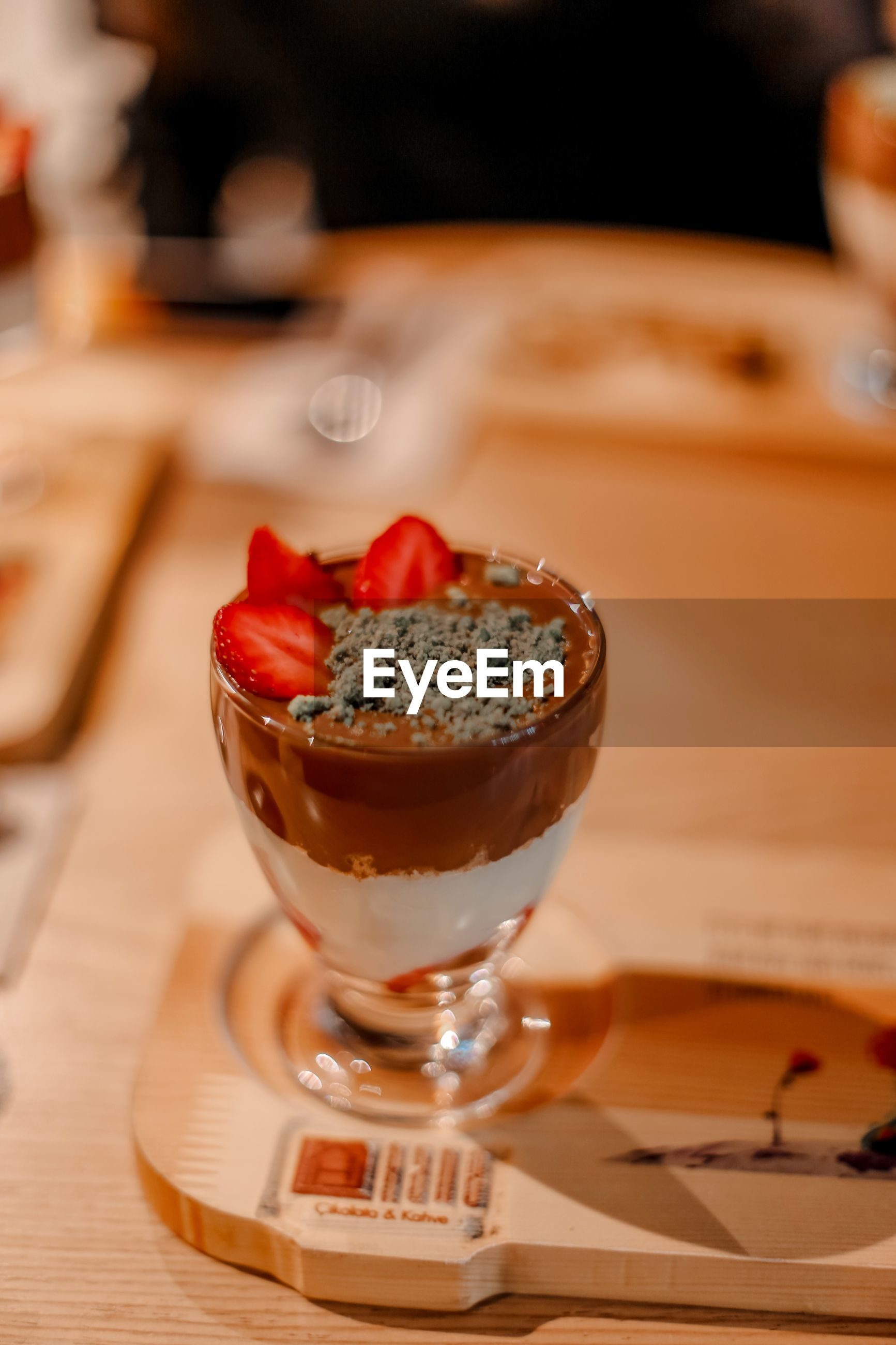 Close-up of dessert in glass on table