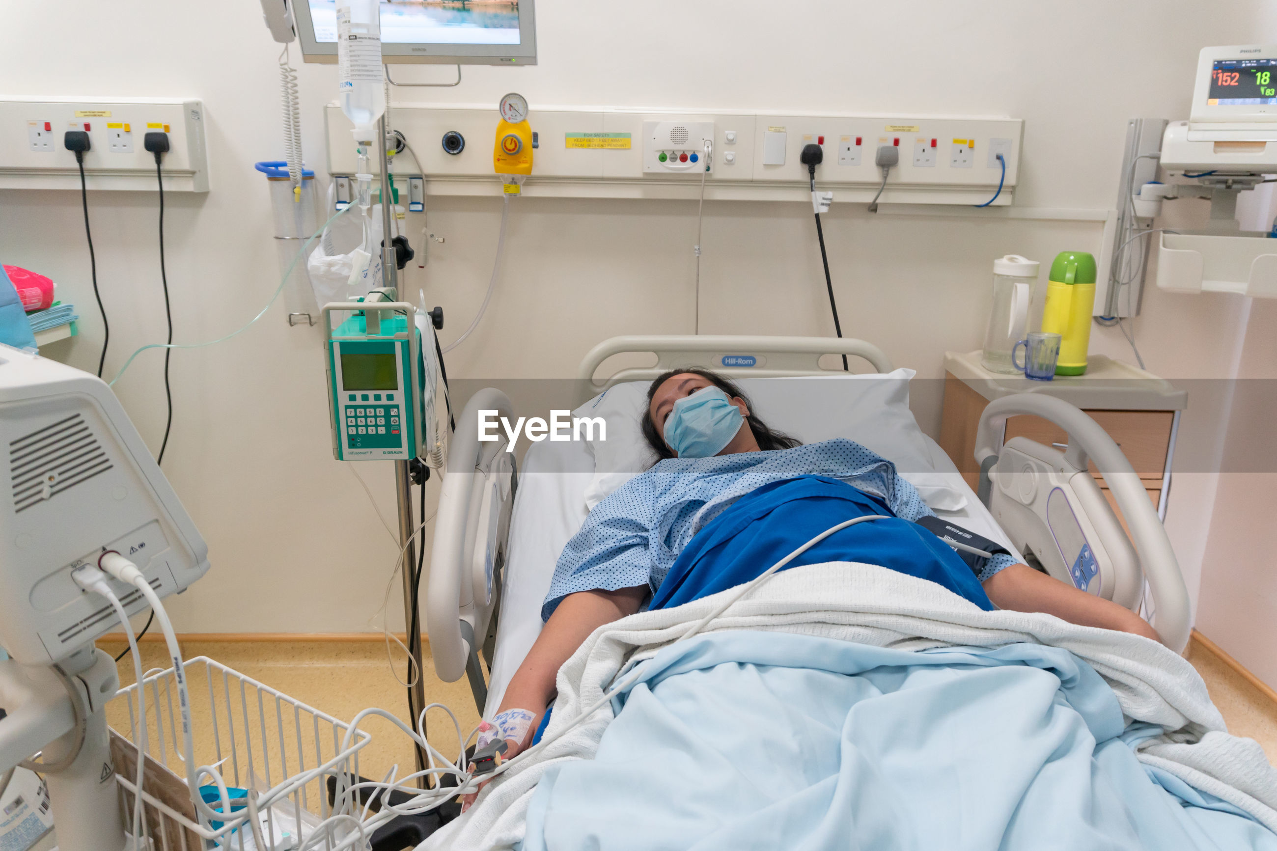 High angle view of bed in hospital