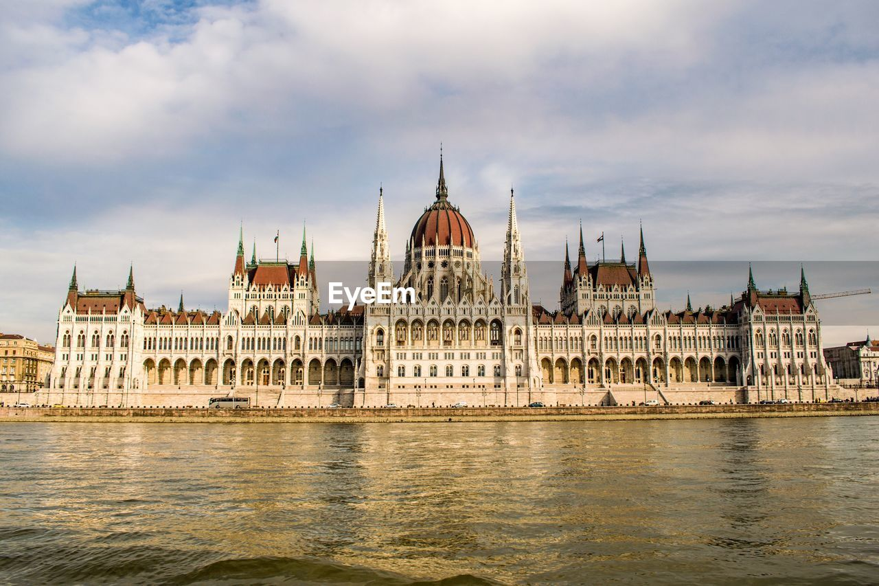 View Of Hungarian Parliament Building Against Cloudy Sky