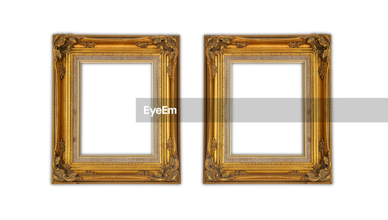 picture frame, frame, white background, gold colored, indoors, blank, art and craft, studio shot, cut out, museum, exhibition, art museum, copy space, rectangle, no people, empty, single object, paintings, white color, close-up, antique, ornate