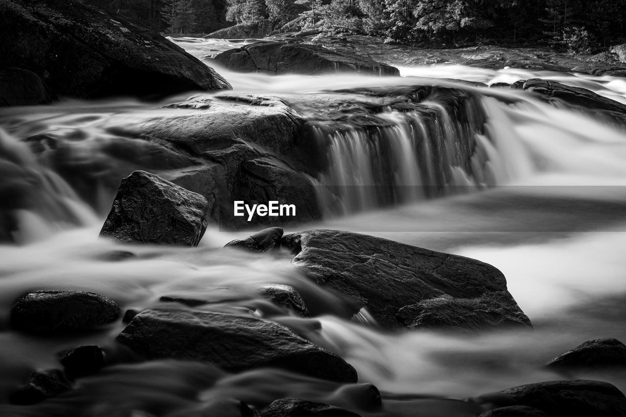 Long exposure of waterfall in river