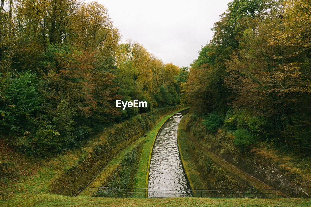 High angle view of canal amidst trees
