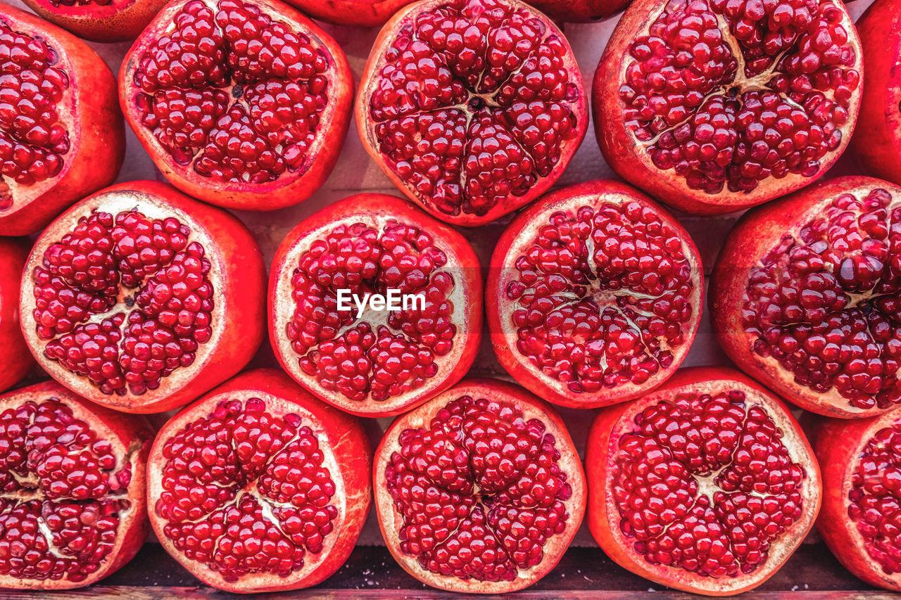 Full Frame Shot Of Pomegranate In Market Stall