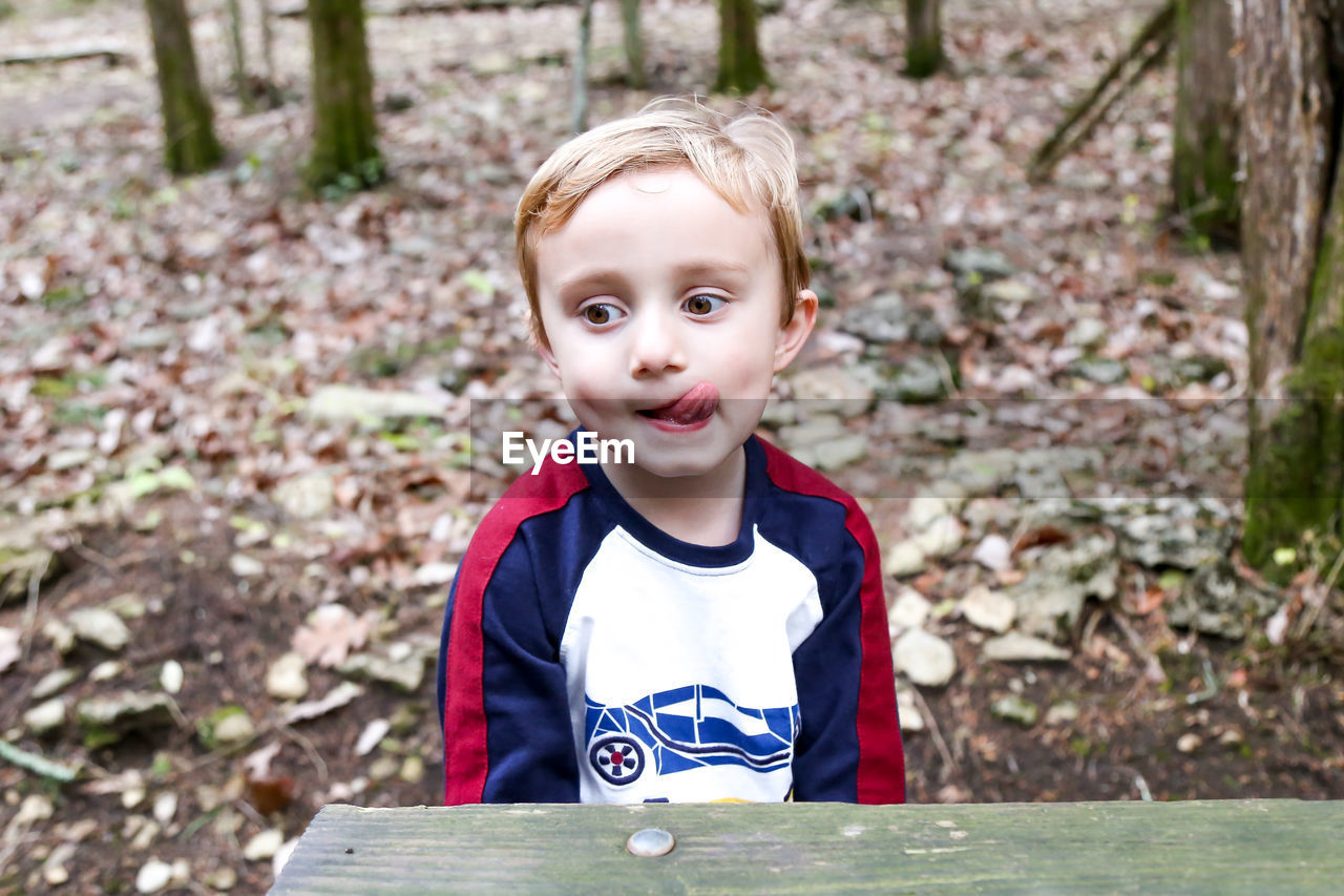 Cute boy sticking out tongue while sitting in forest