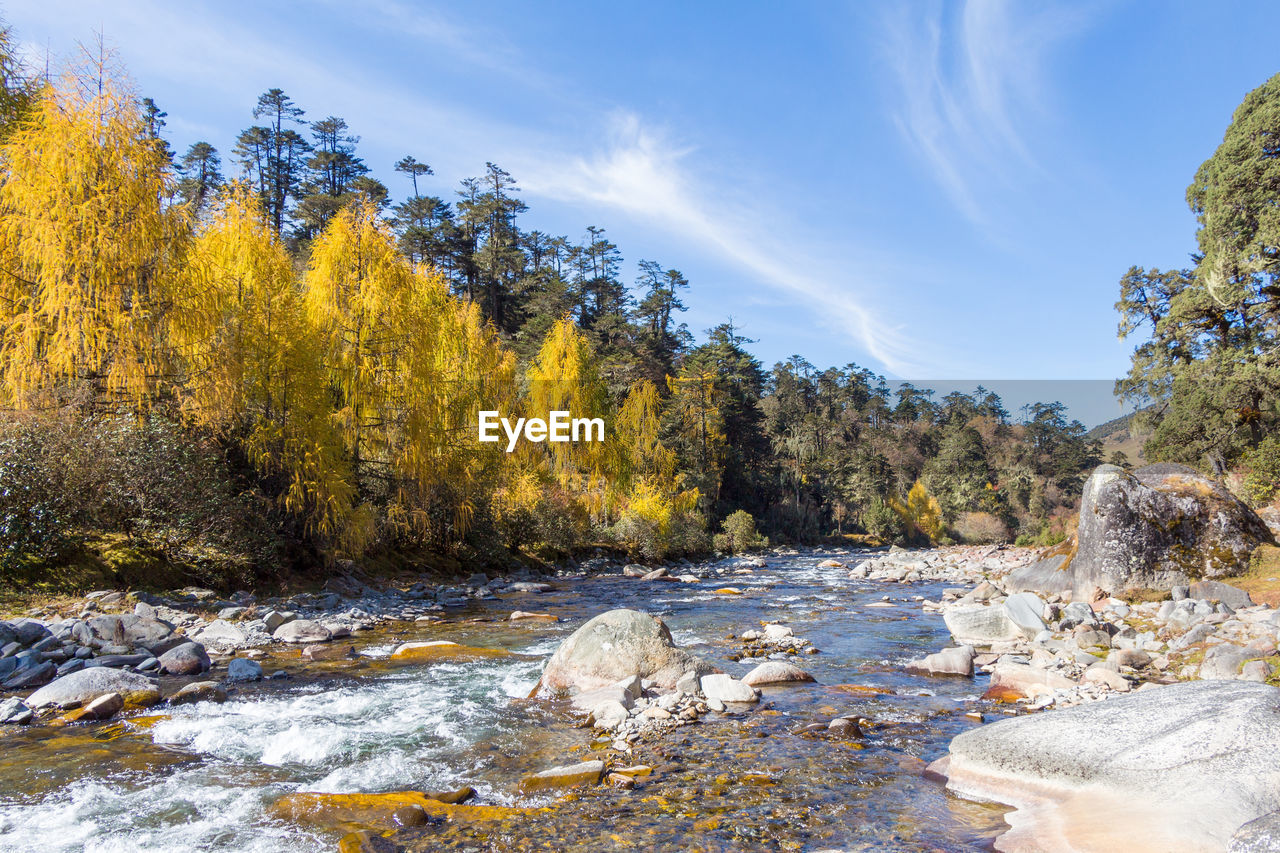 Scenic View Of Rocks By River Against Sky