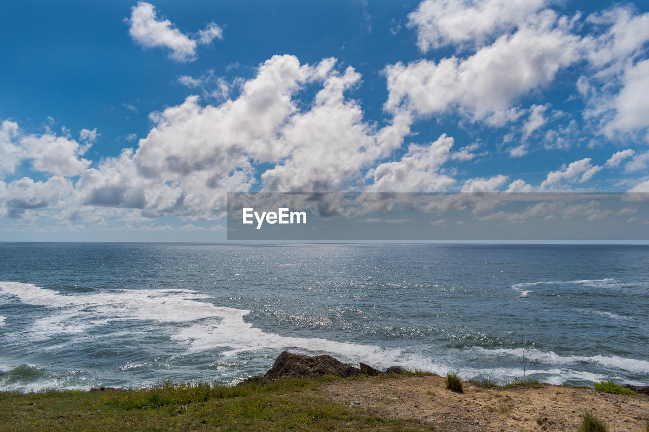 sea, water, horizon, cloud - sky, sky, horizon over water, scenics - nature, beauty in nature, beach, land, tranquility, tranquil scene, no people, nature, wave, day, motion, sport, idyllic, outdoors