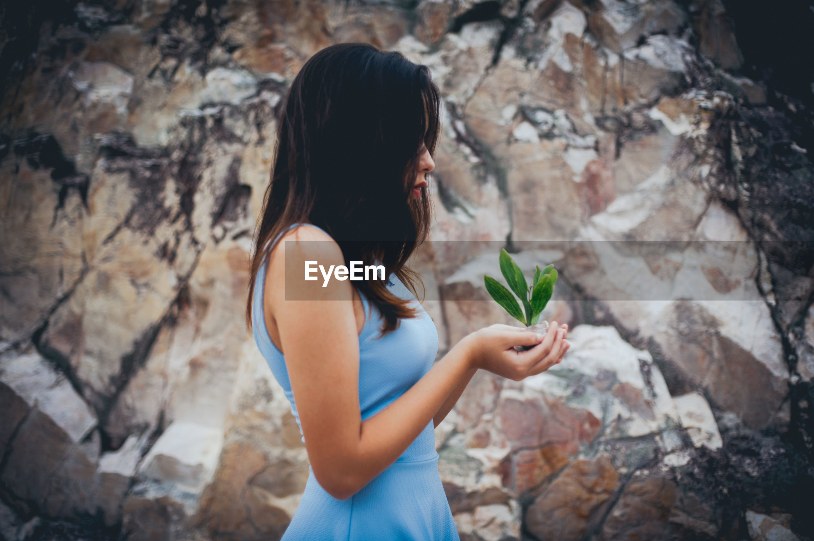 Woman standing with plant in hand by rocks