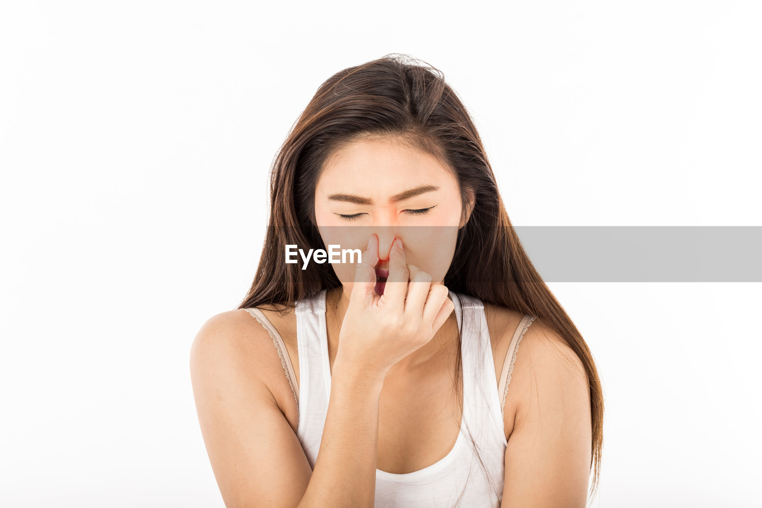 Sick beautiful woman over white background