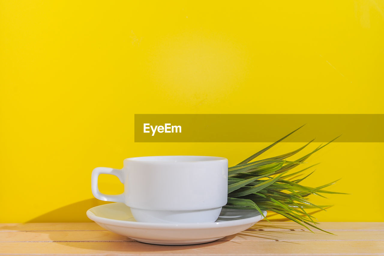 cup, food and drink, table, mug, refreshment, still life, saucer, yellow, crockery, indoors, drink, freshness, coffee cup, copy space, coffee, studio shot, coffee - drink, plant, close-up, no people, herb, tea cup
